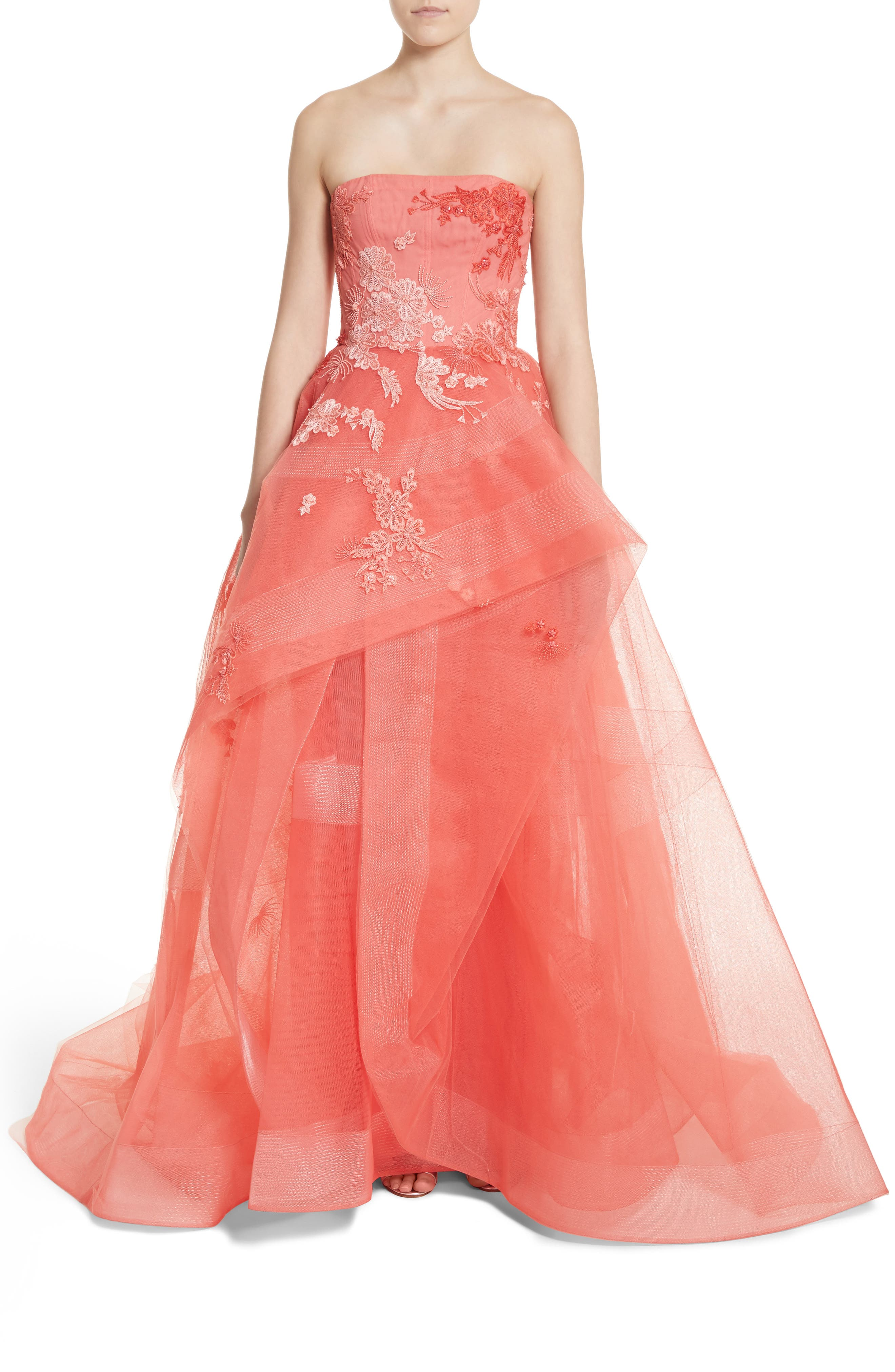 Embroidered Strapless Ballgown,                             Main thumbnail 1, color,                             Coral