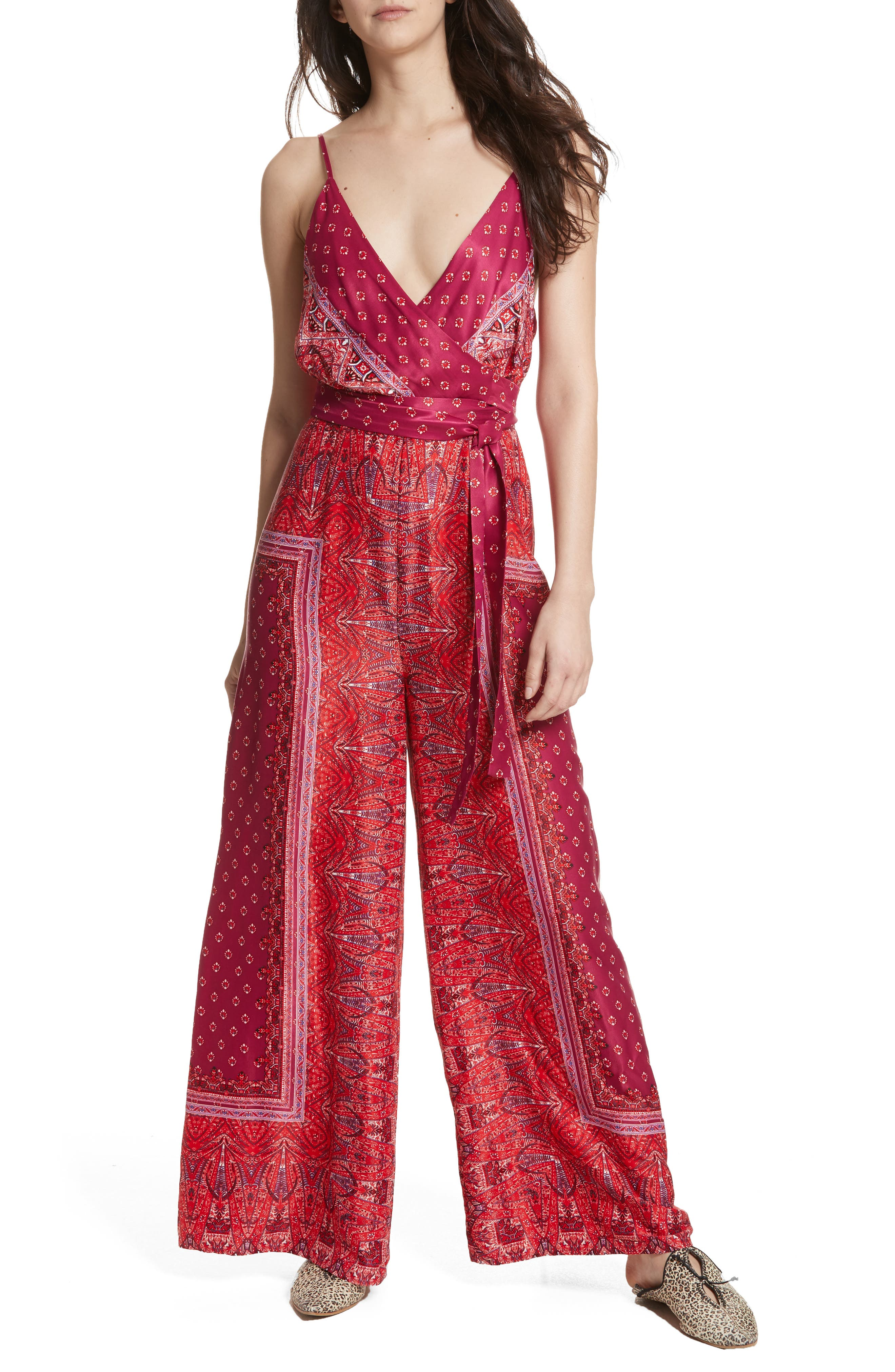 Cabbage Rose Jumpsuit,                         Main,                         color, Pink Combo