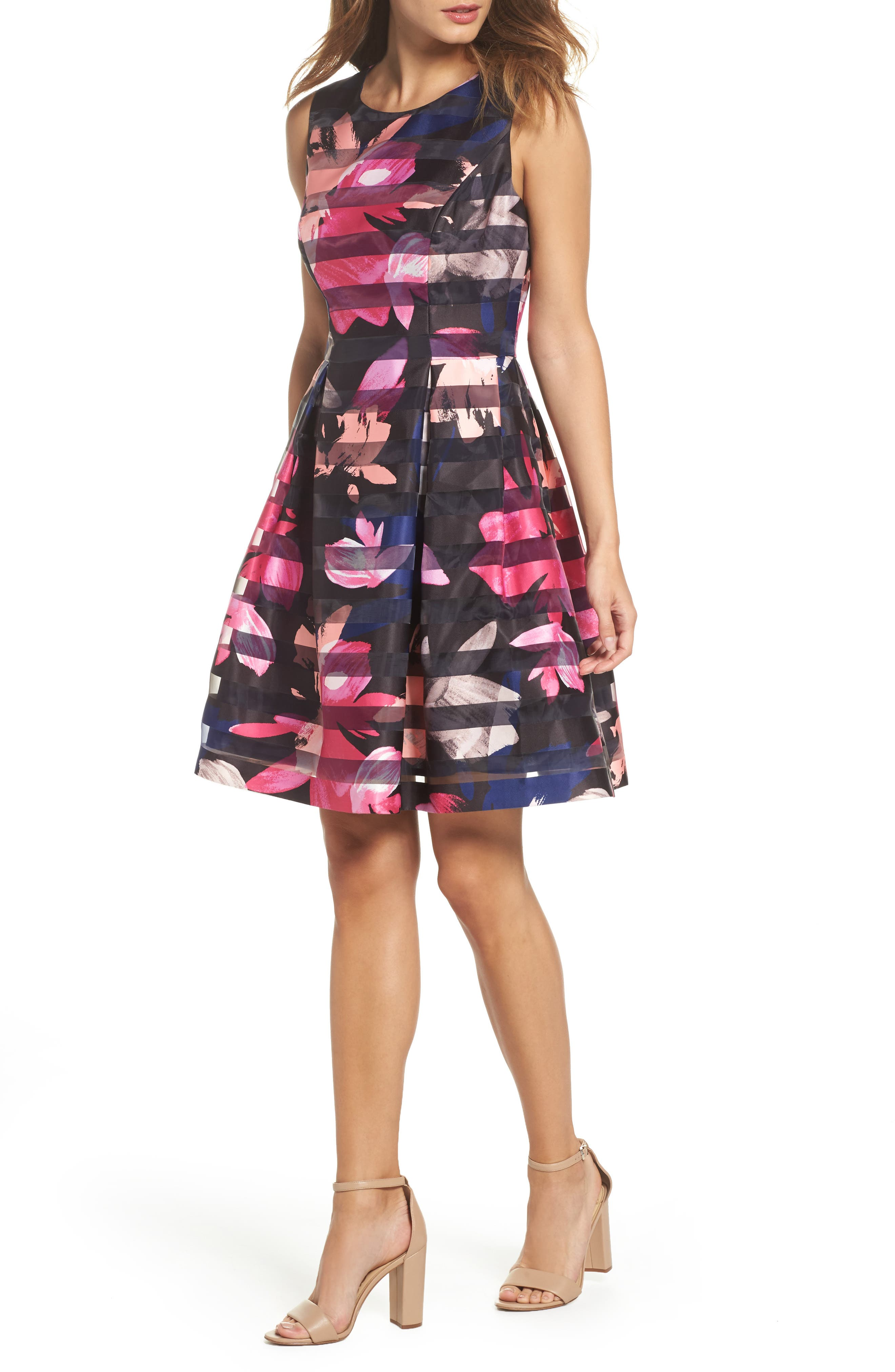 Shadow Stripe Fit & Flare Dress,                         Main,                         color, Navy/ Multi