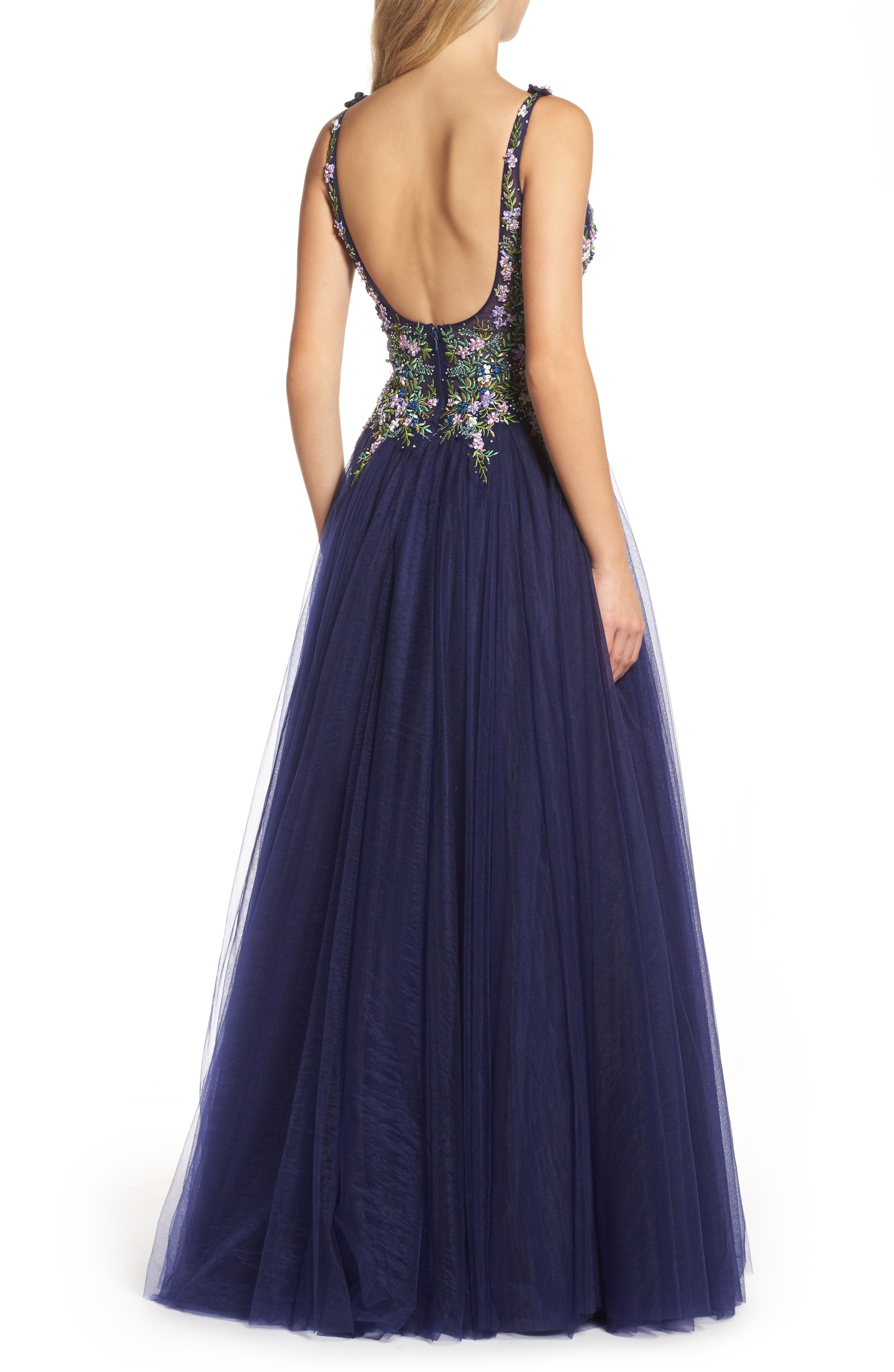 Embroidered Bodice Ballgown,                             Alternate thumbnail 2, color,                             Indigo