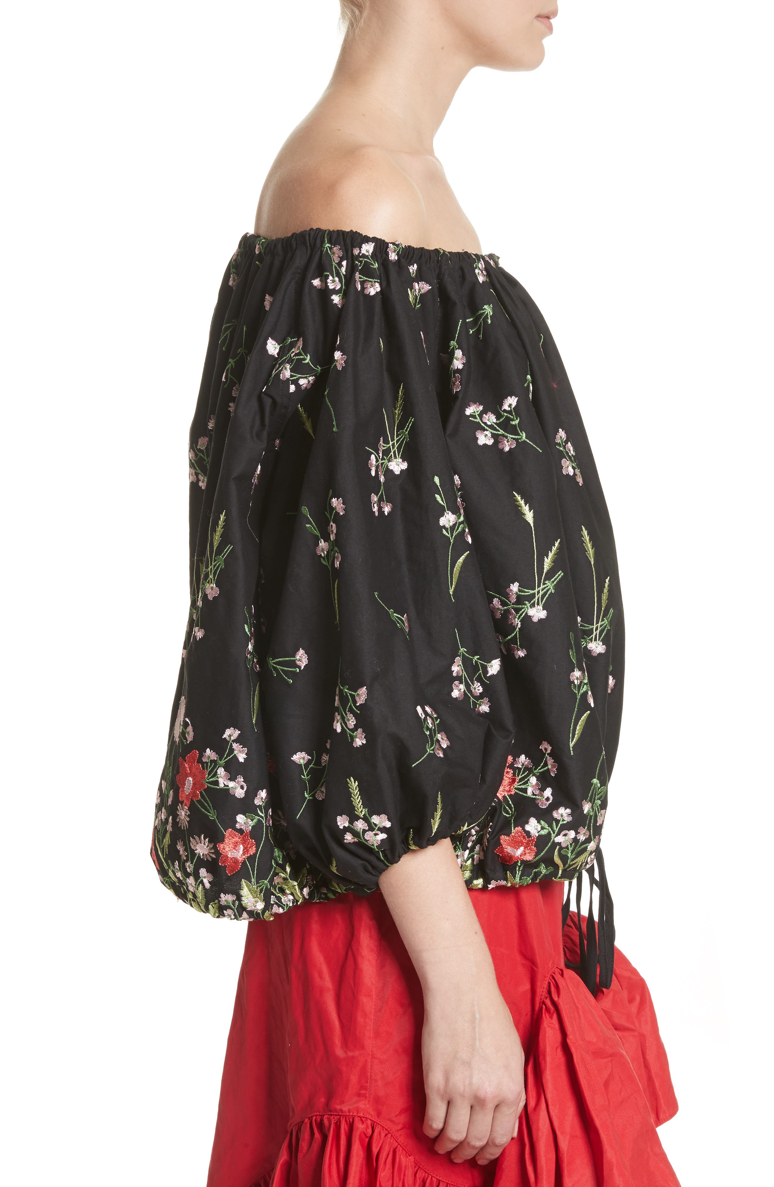 Marques'Almeida Embroidered Off the Shoulder Top,                             Alternate thumbnail 3, color,                             Black/Multi