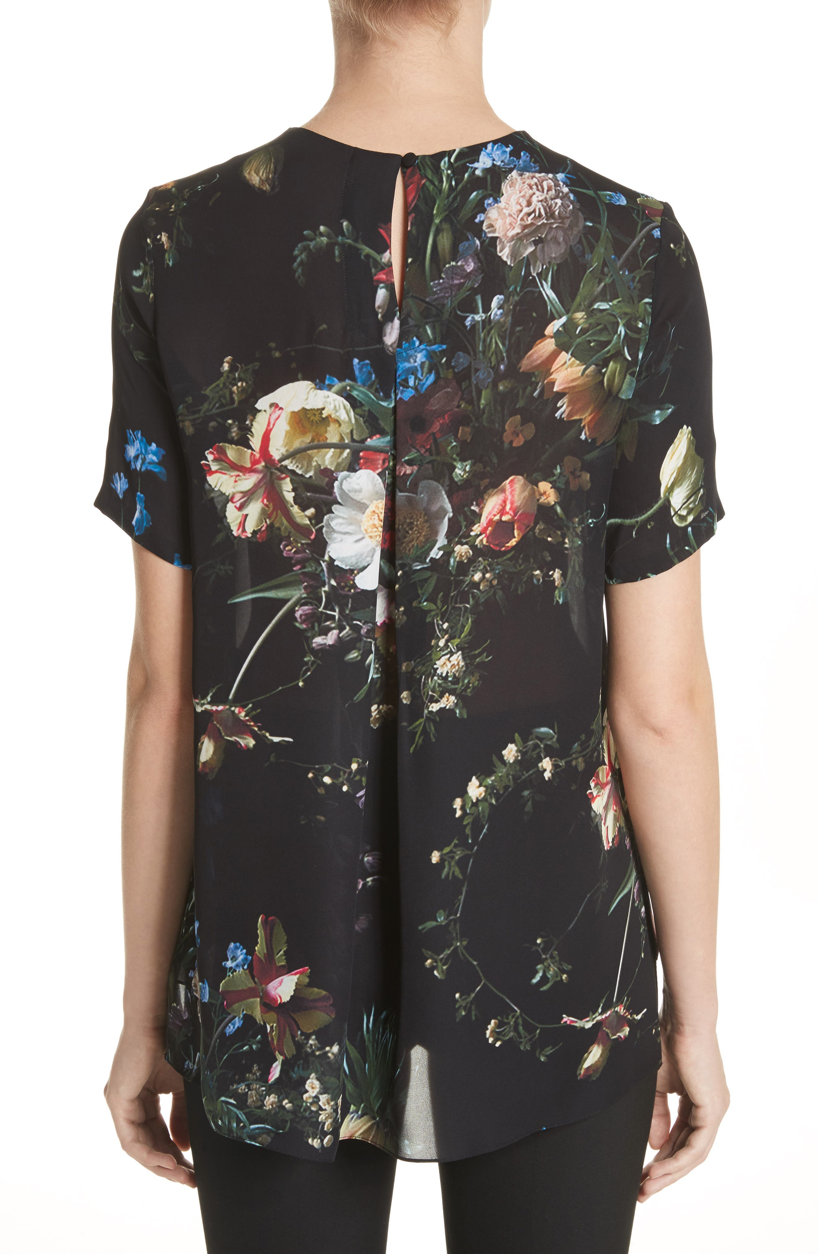 Floral Print Silk Tee,                             Alternate thumbnail 2, color,                             Black