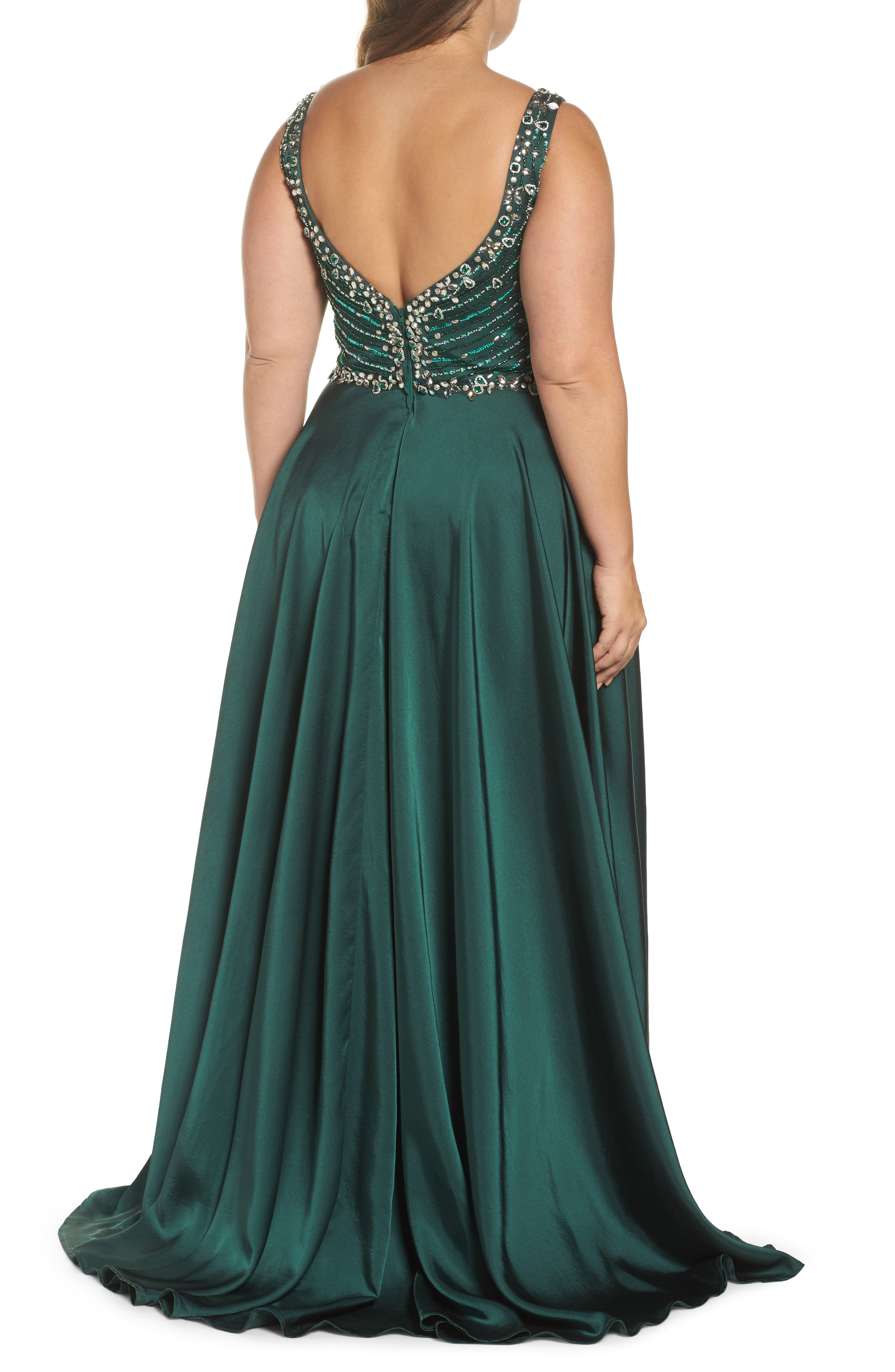 Beaded Bodice Gown,                             Alternate thumbnail 2, color,                             Emerald
