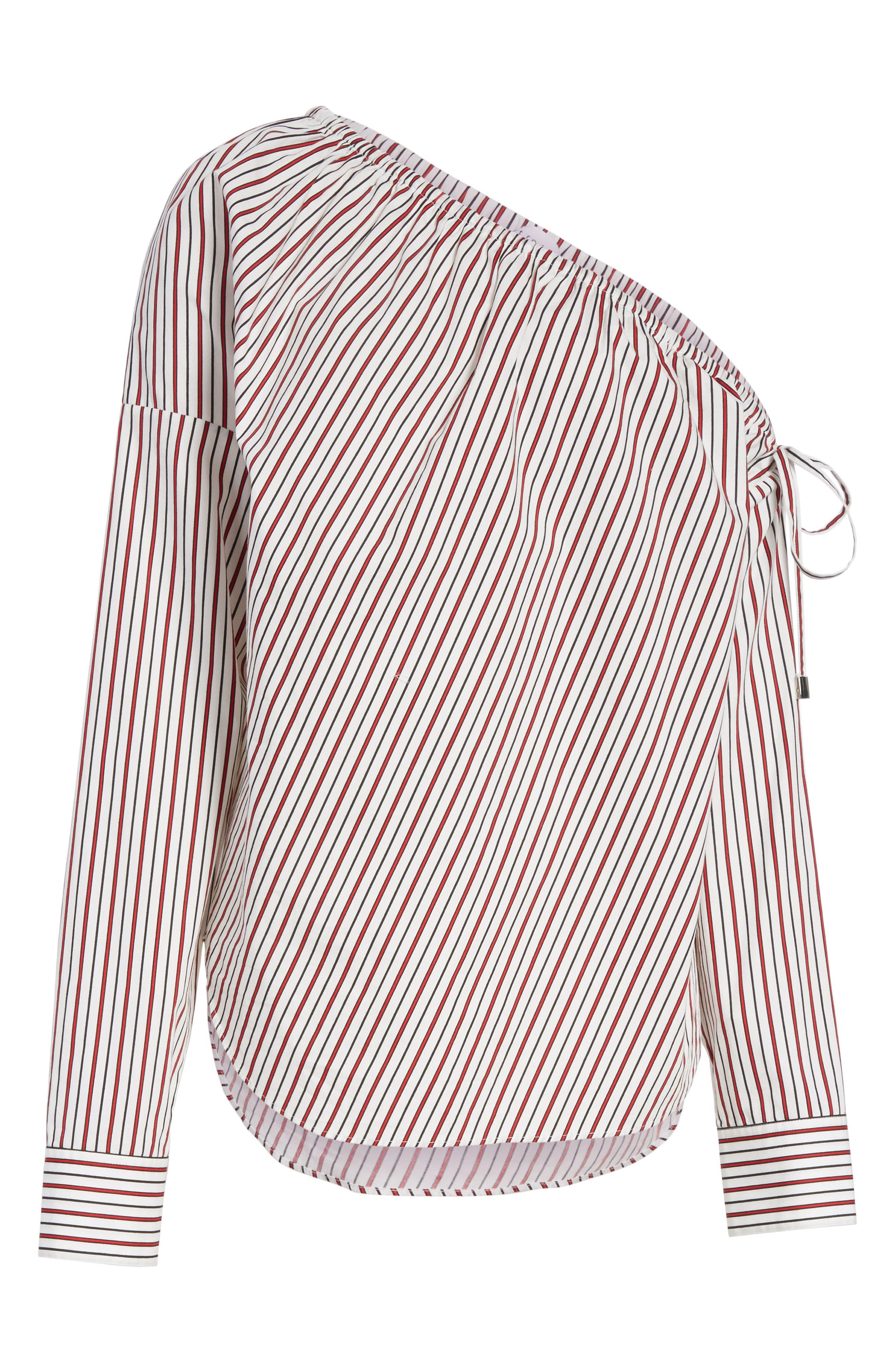 Cinched One-Shoulder Top,                             Alternate thumbnail 6, color,                             Red Stripe