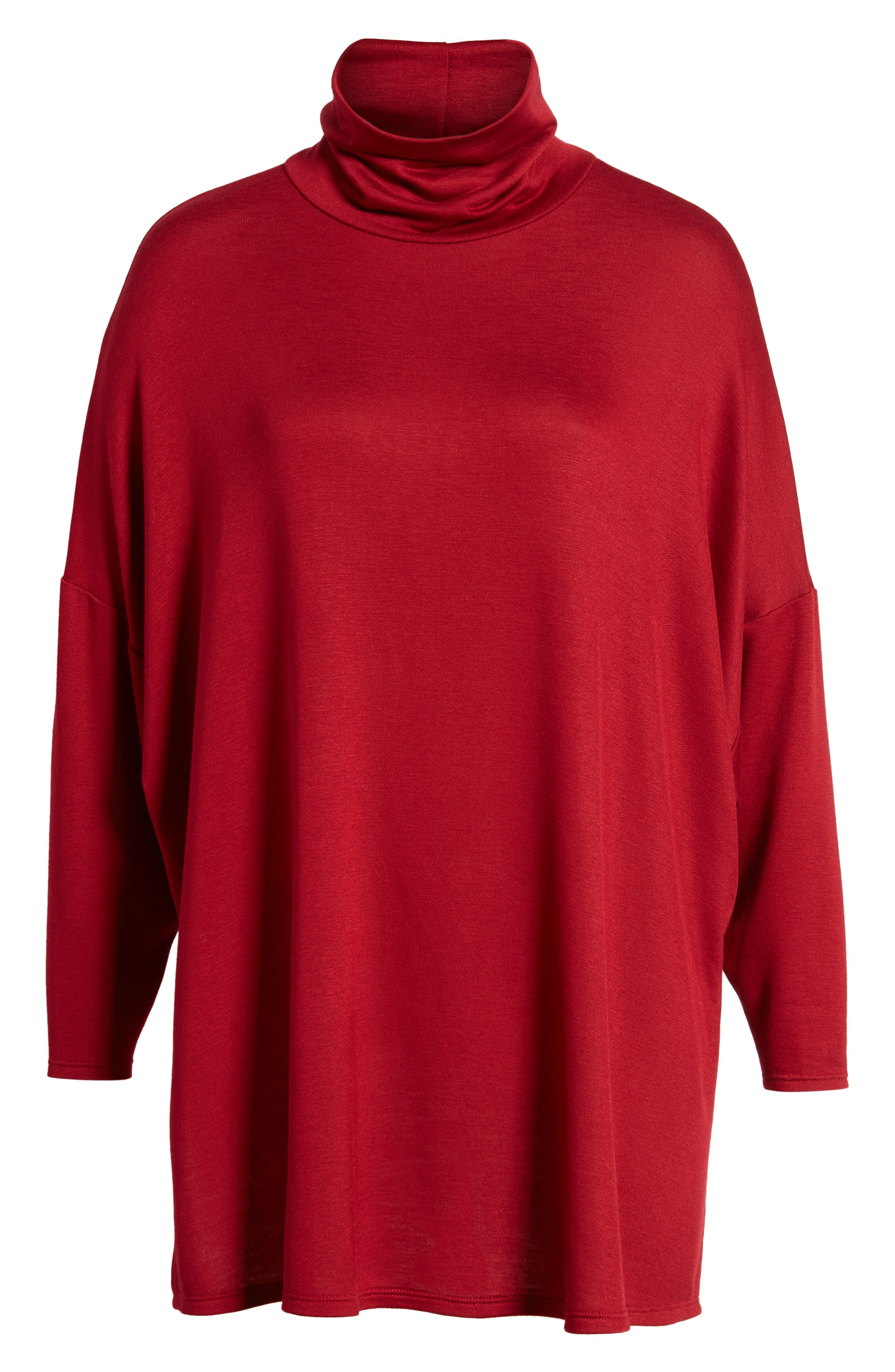 Mock Neck Tunic,                             Alternate thumbnail 6, color,                             Wine