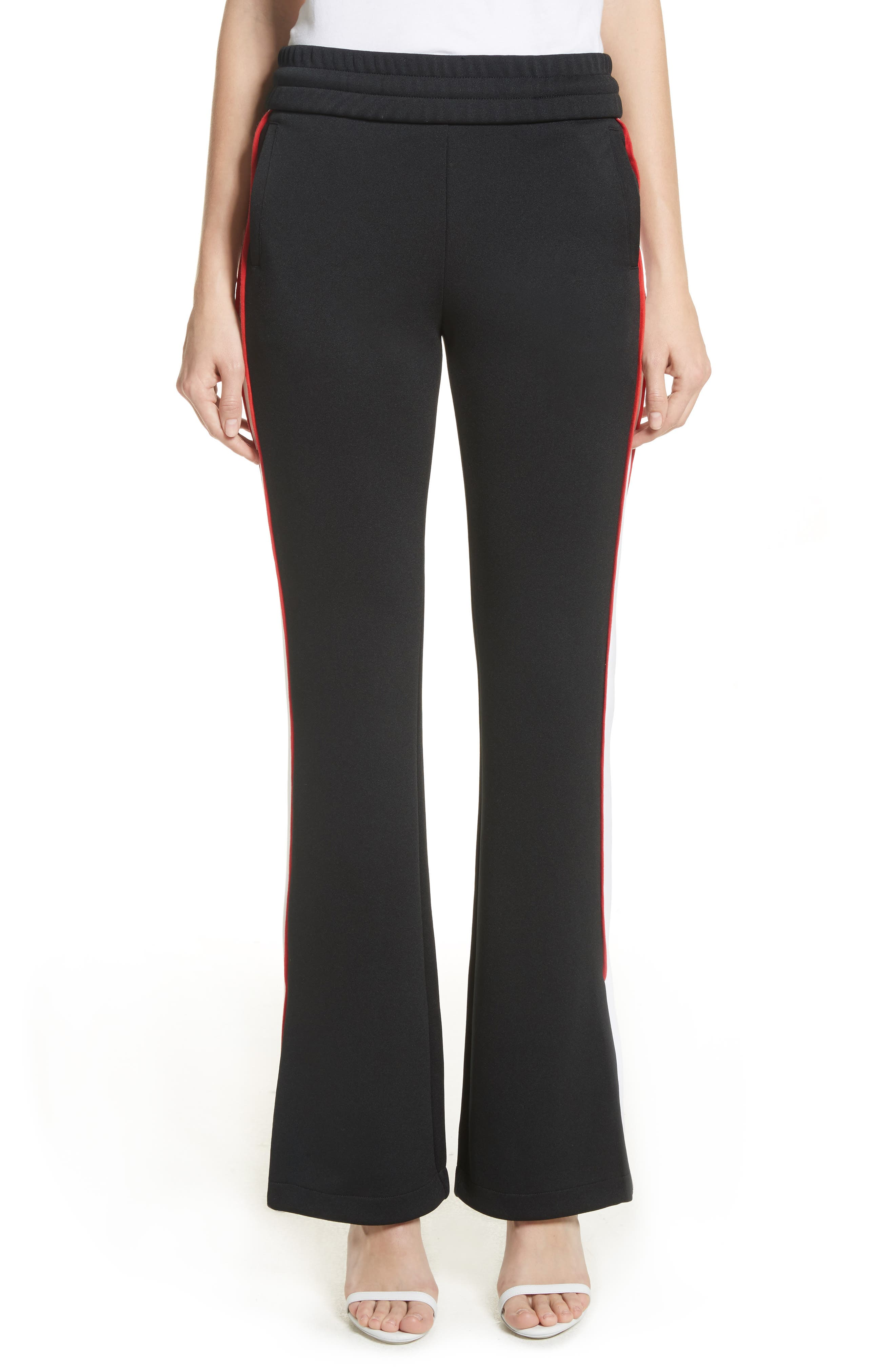 Flare Leg Track Pants,                             Main thumbnail 1, color,                             Black/ No Color