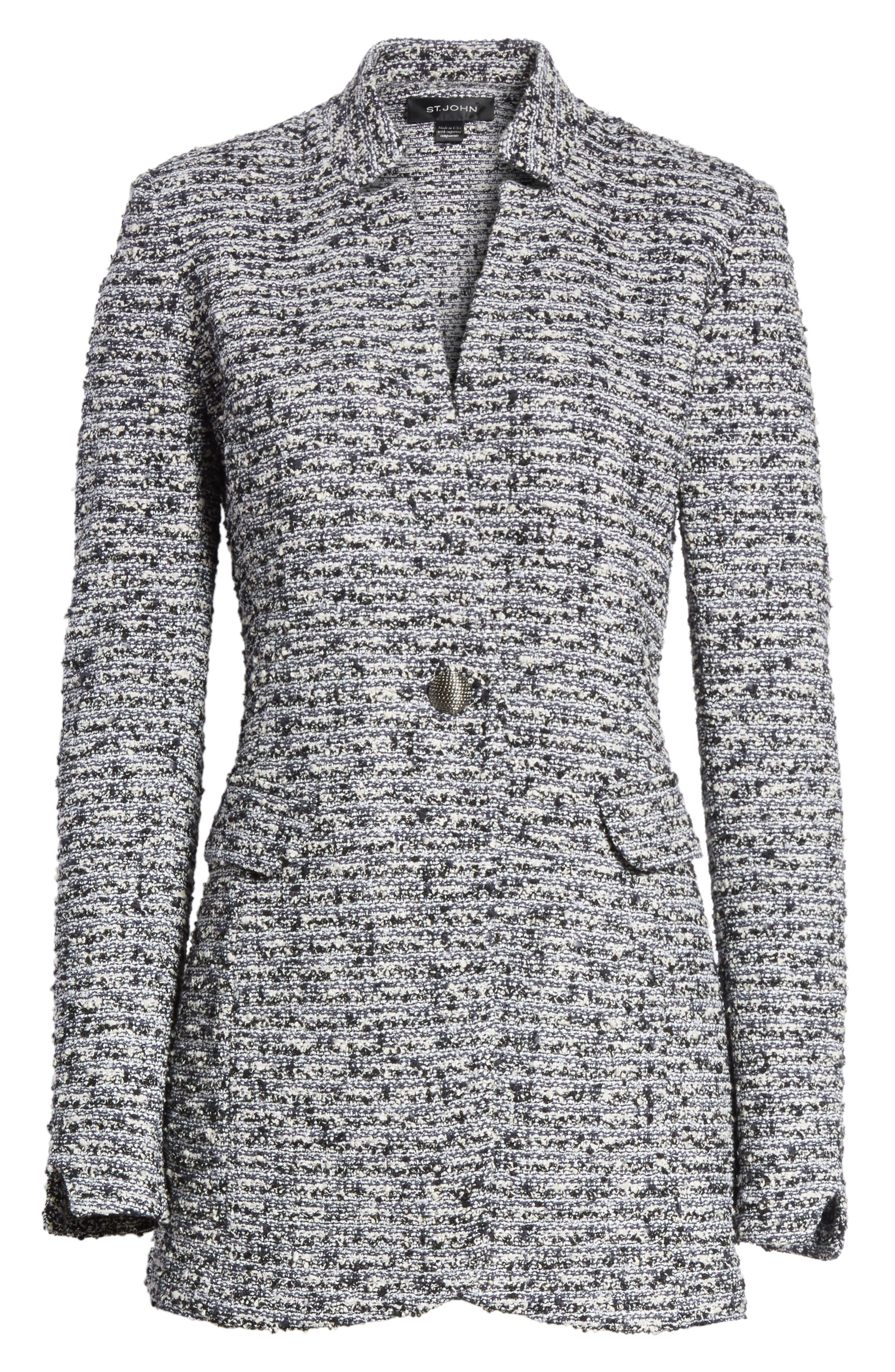 Micro Tweed Blazer,                             Alternate thumbnail 7, color,                             Caviar/ Bianco Multi