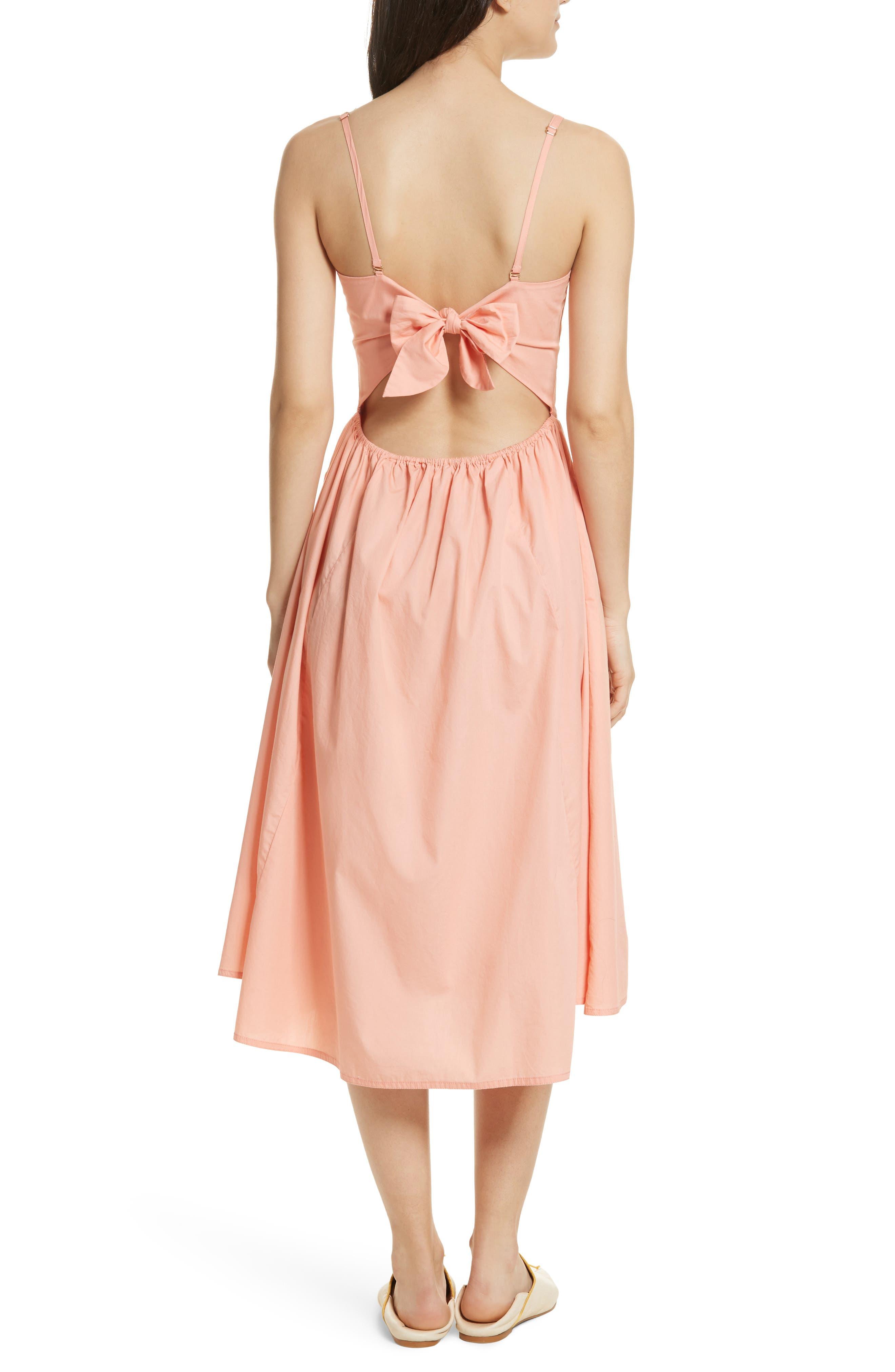 Perfect Peach Poplin Midi Dress,                             Alternate thumbnail 3, color,                             Pink