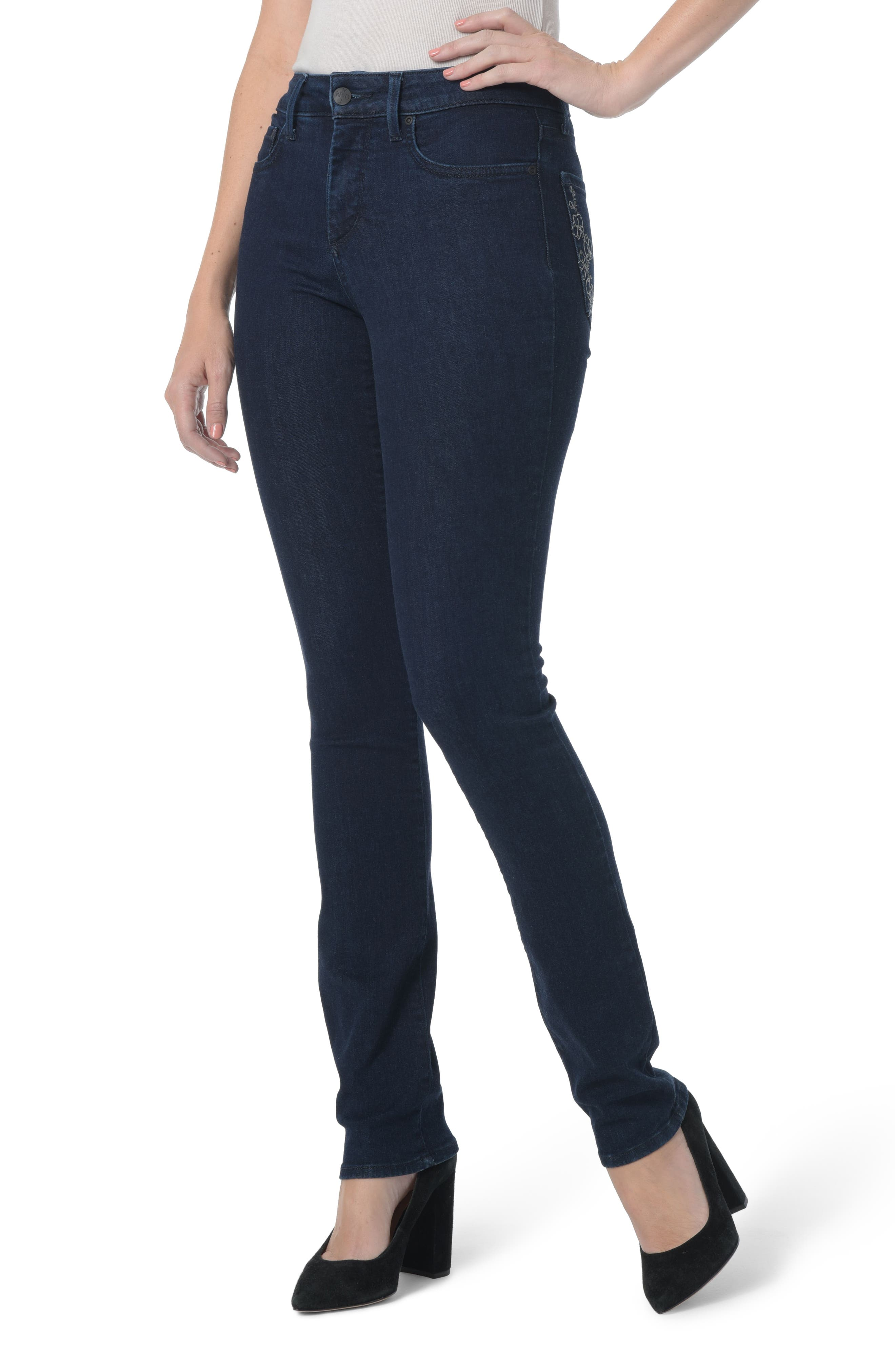 NYDJ Sheri Floral Bling Stretch Slim Jeans (Rinse)