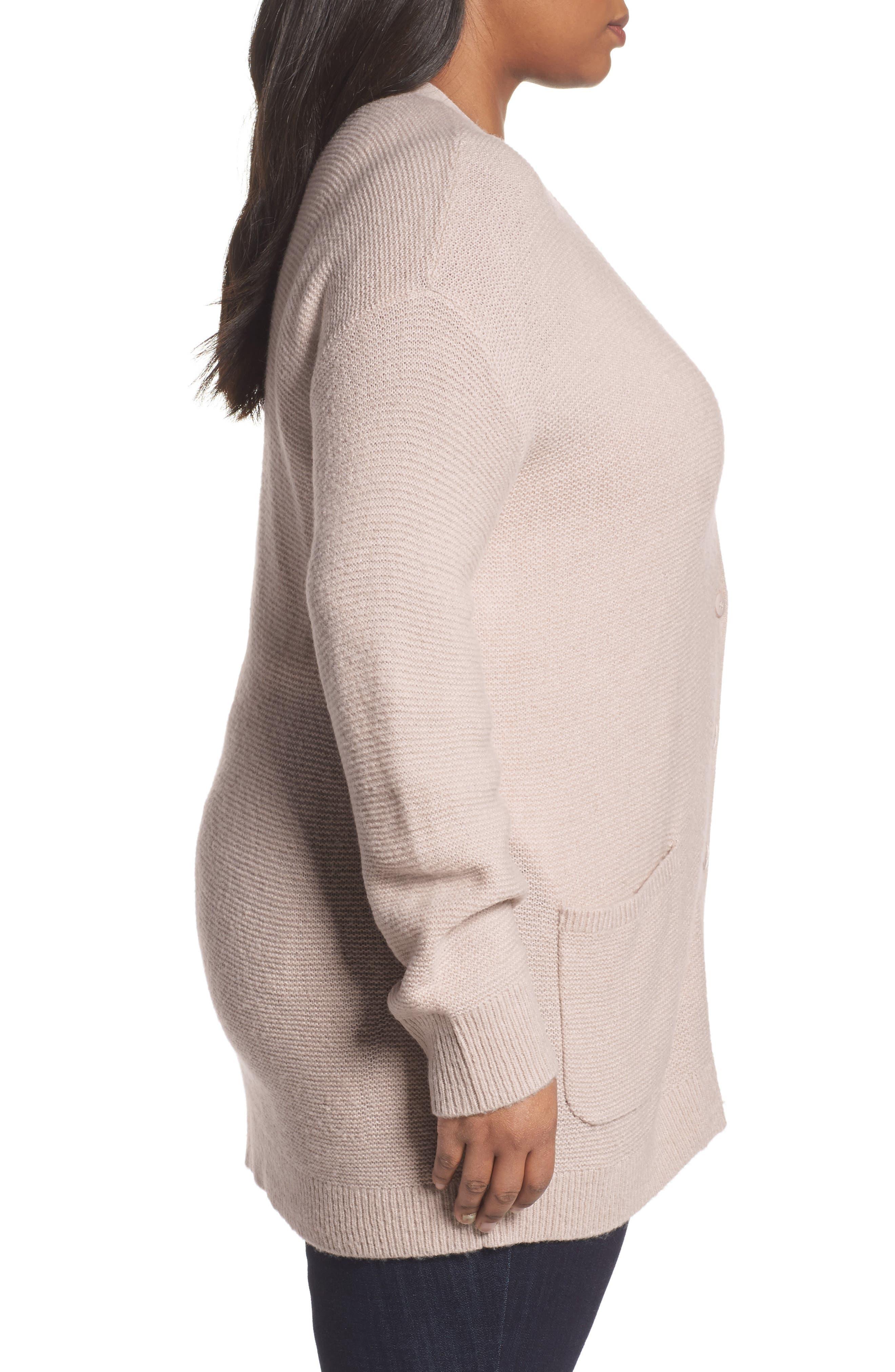 Alternate Image 3  - Caslon® Long V-Neck Wool Blend Cardigan (Plus Size)