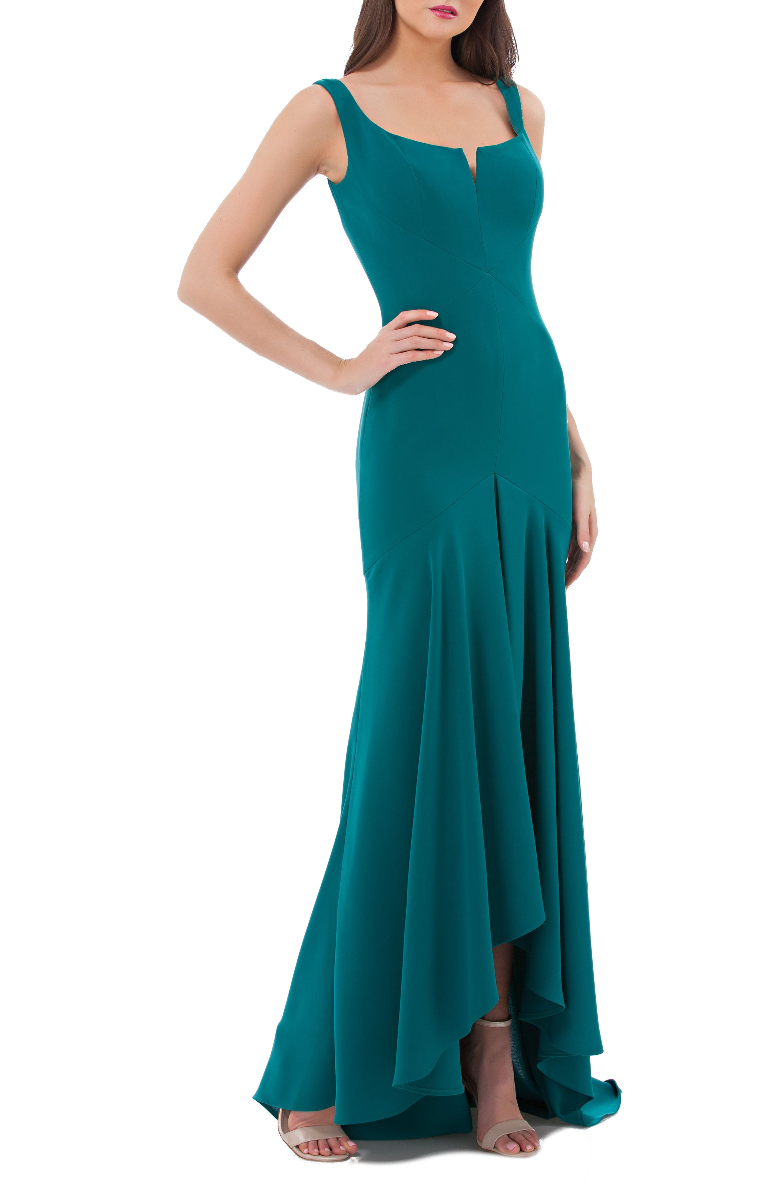 Crepe High/Low Gown,                         Main,                         color, Pine