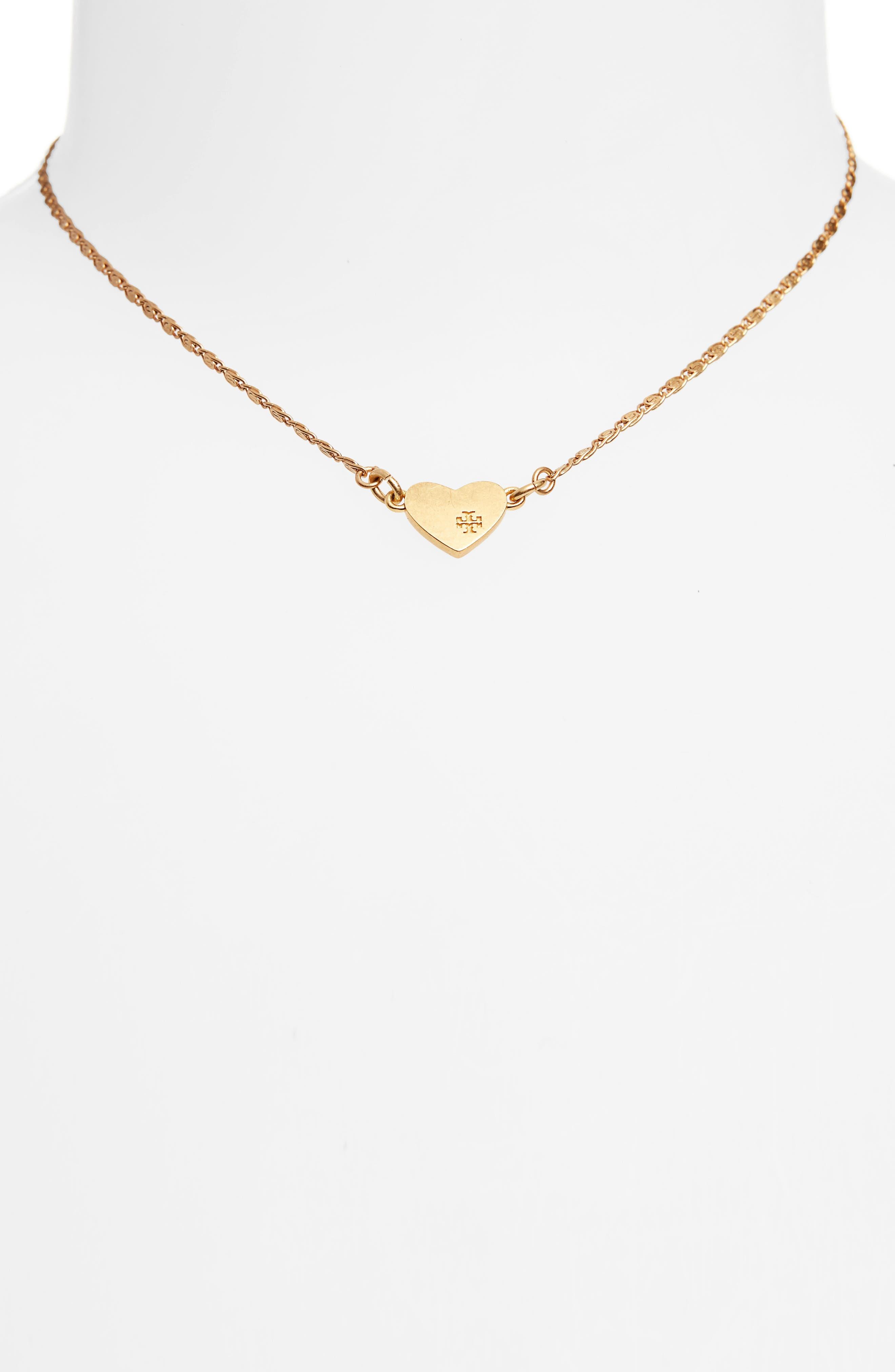 Heart Pendant Necklace,                             Alternate thumbnail 2, color,                             Black Diamond/ Vintage Gold