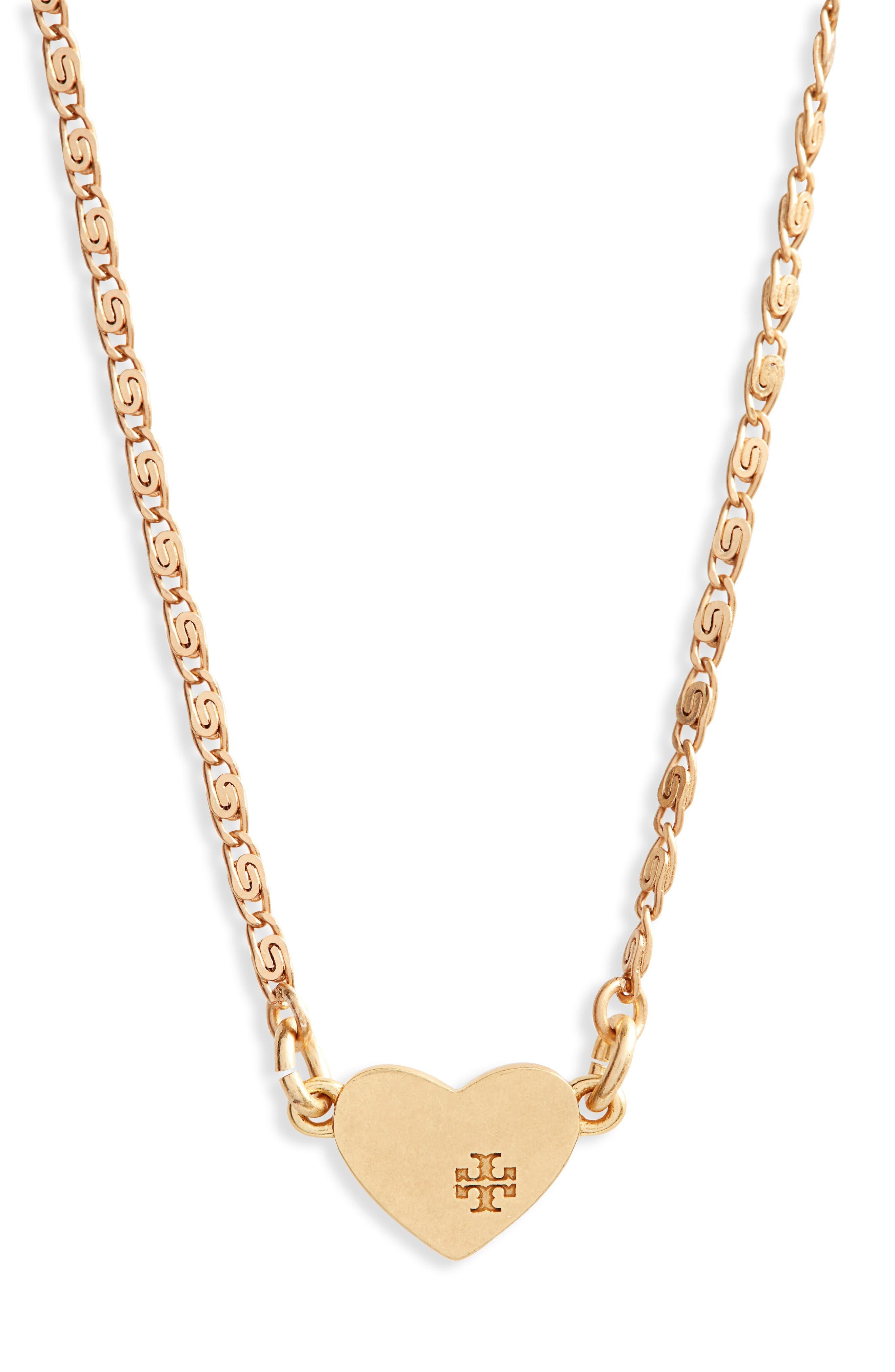 Heart Pendant Necklace,                         Main,                         color, Black Diamond/ Vintage Gold