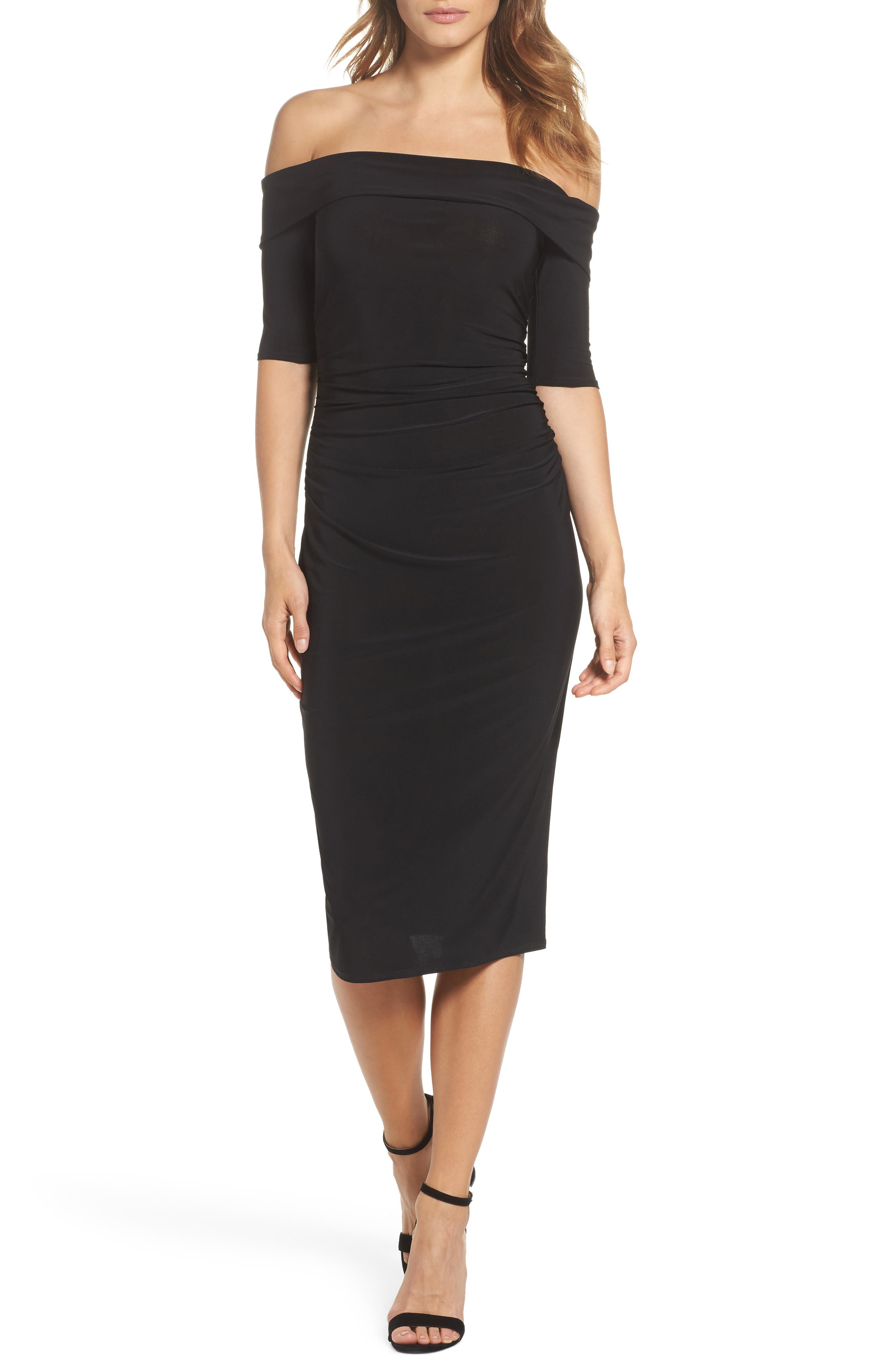 Jacey Off the Shoulder Sheath Dress,                             Main thumbnail 1, color,                             Black