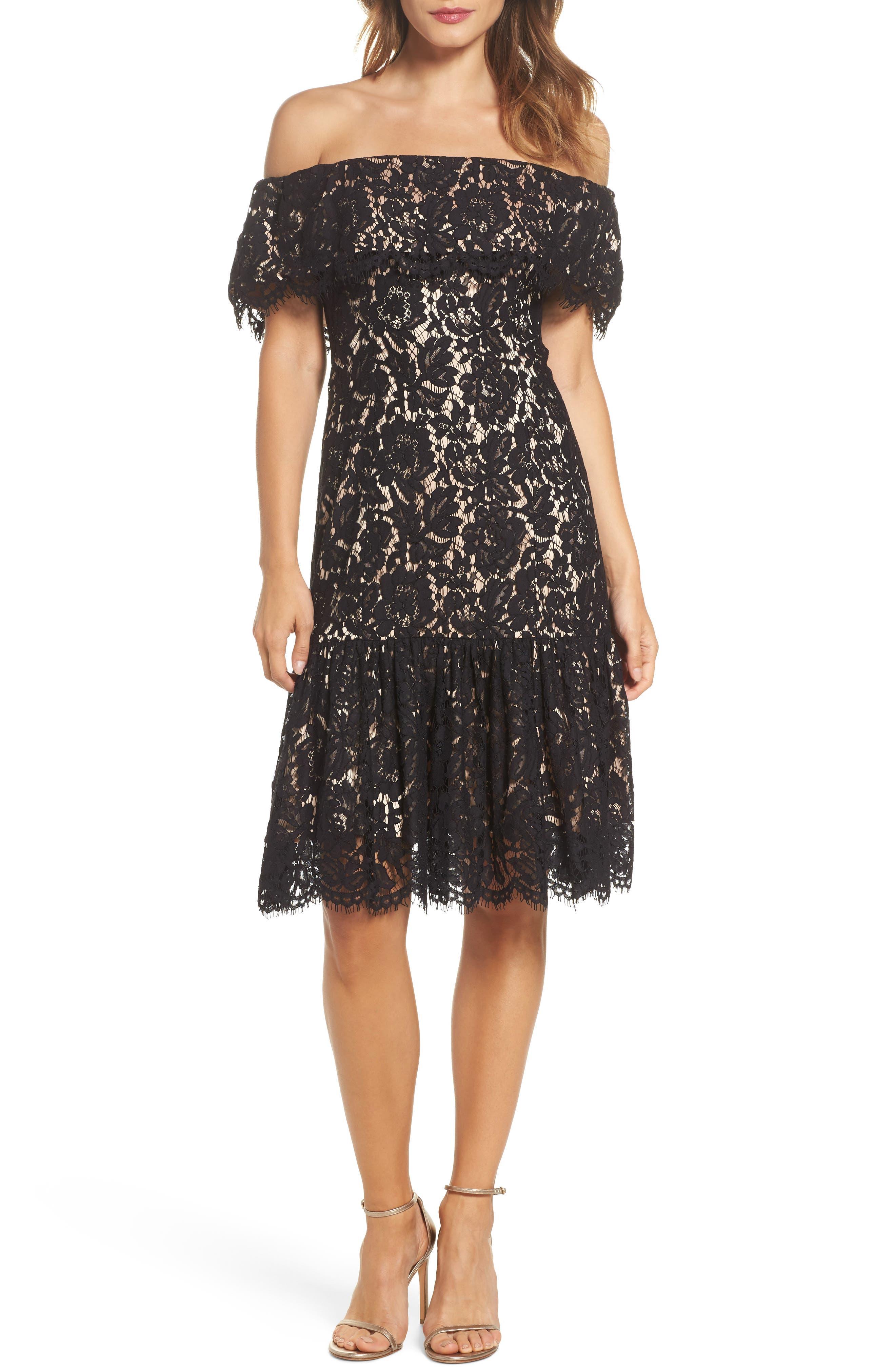 Lace Off the Shoulder Midi Dress,                             Main thumbnail 1, color,                             Black