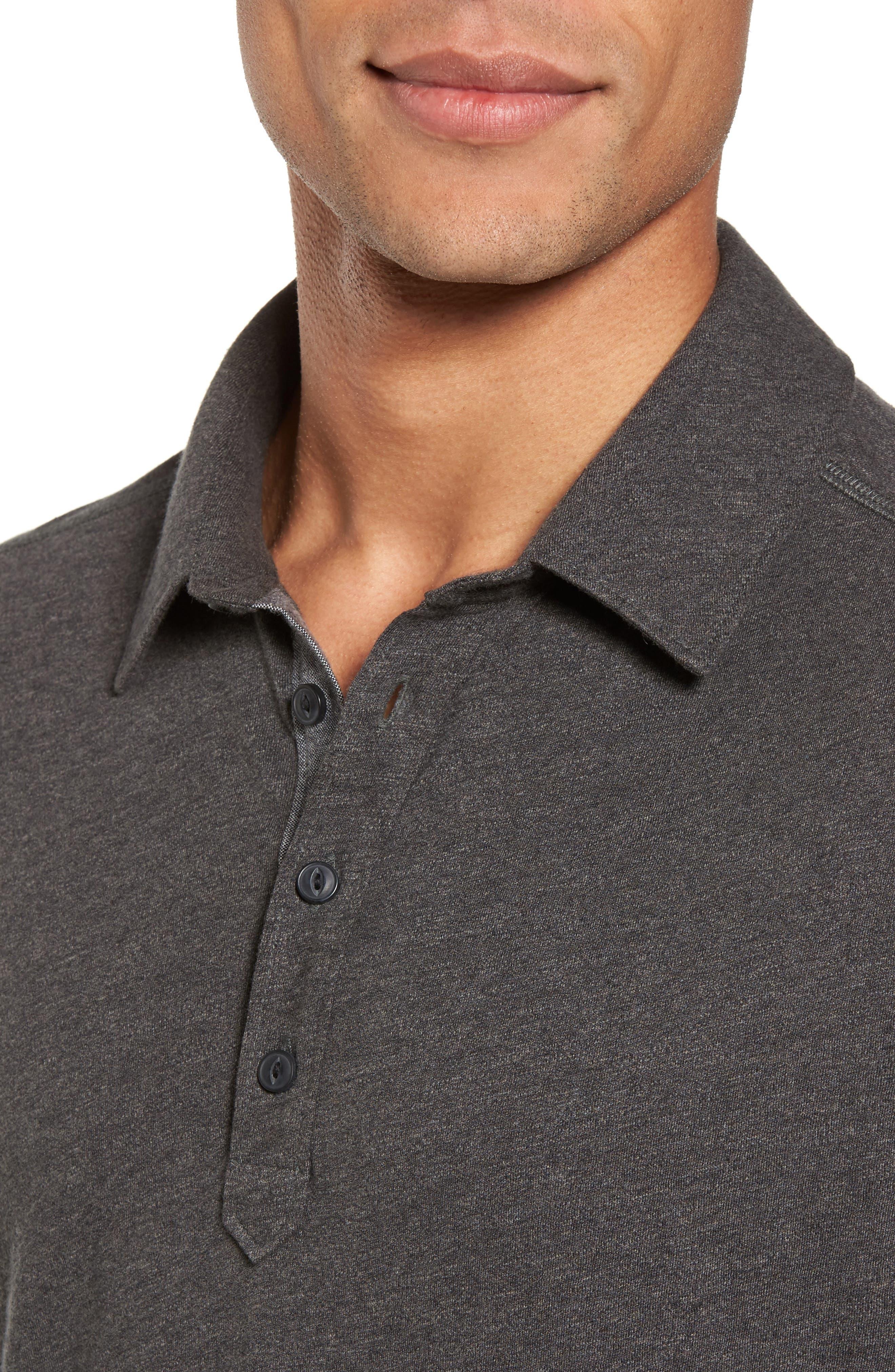 Long Sleeve Polo,                             Alternate thumbnail 4, color,                             Grey Phantom