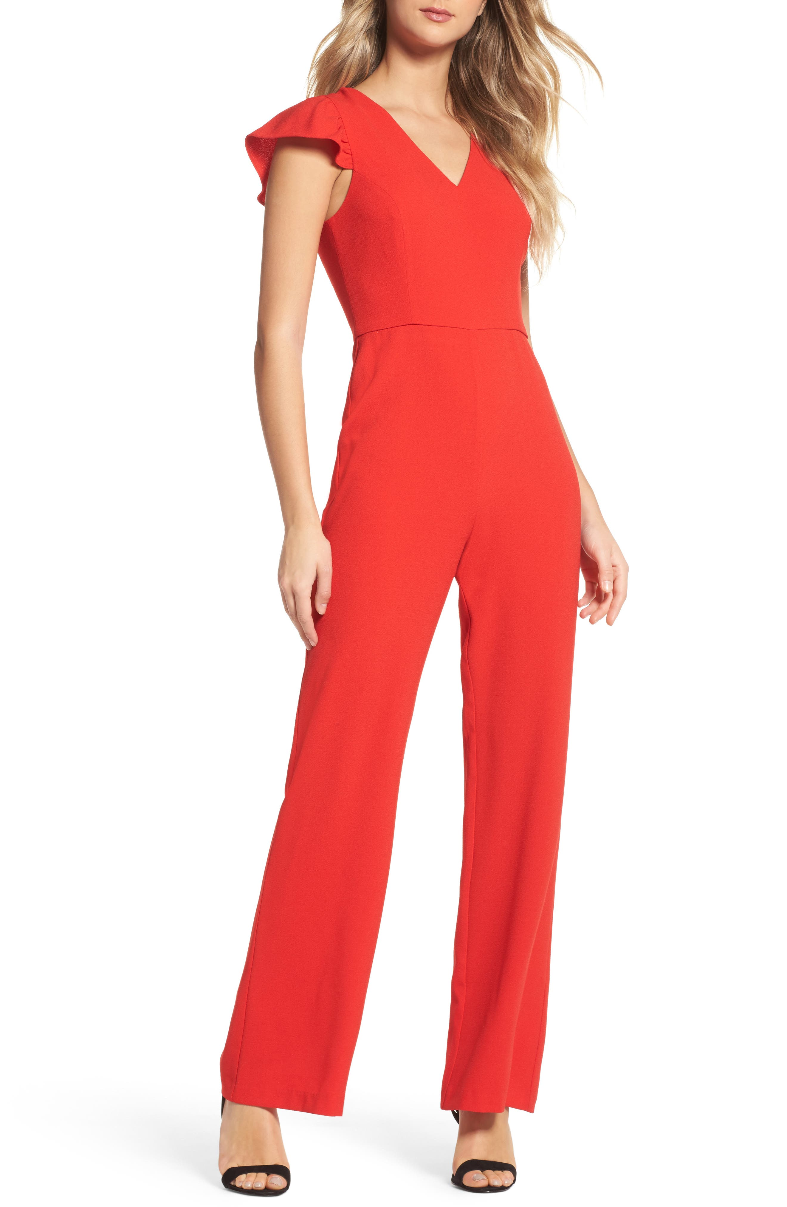 Ruffle Sleeve Jumpsuit,                         Main,                         color, Tomato Red