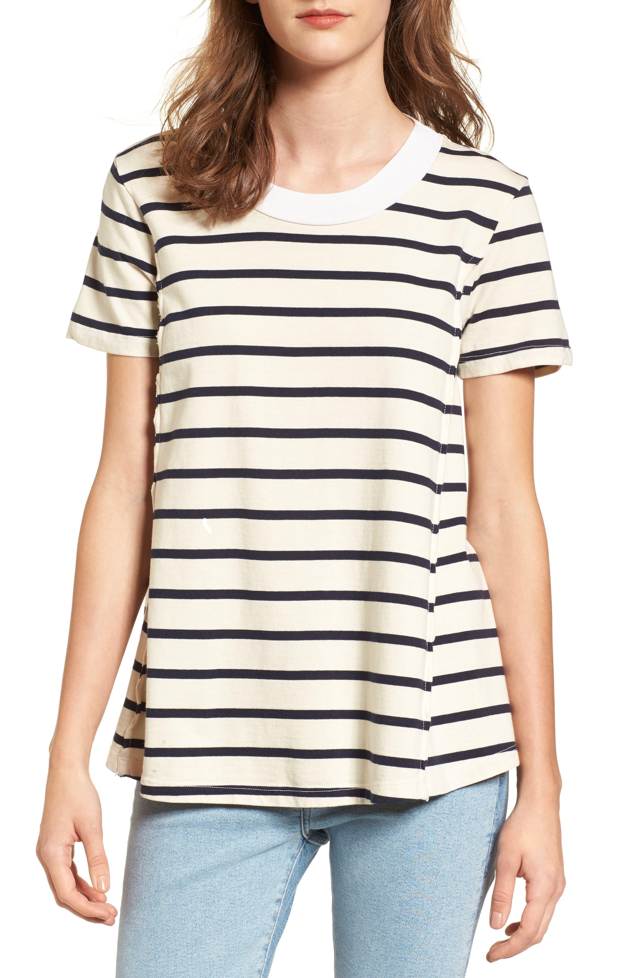 Stripe Swing Tee,                         Main,                         color, Cream