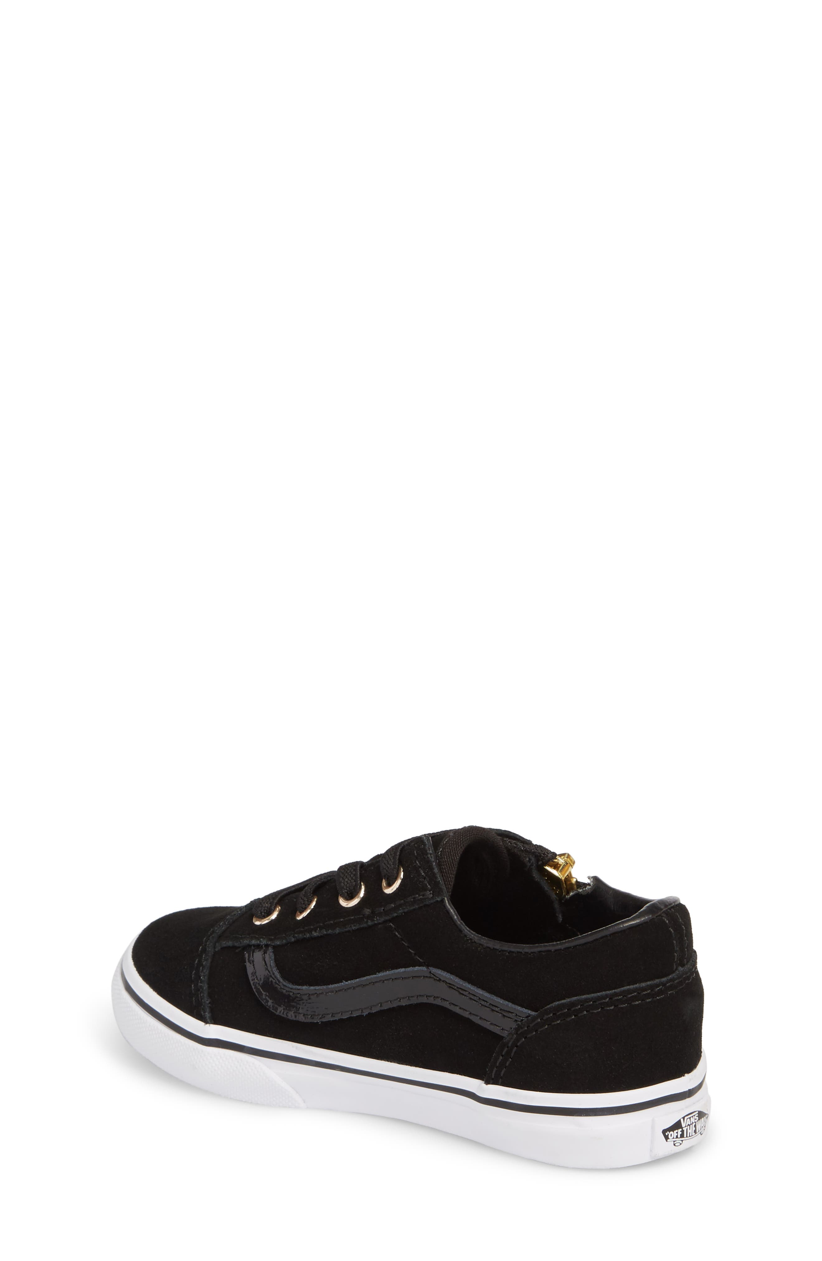 Old Skool Zip Sneaker,                             Alternate thumbnail 2, color,                             Black/ Gold