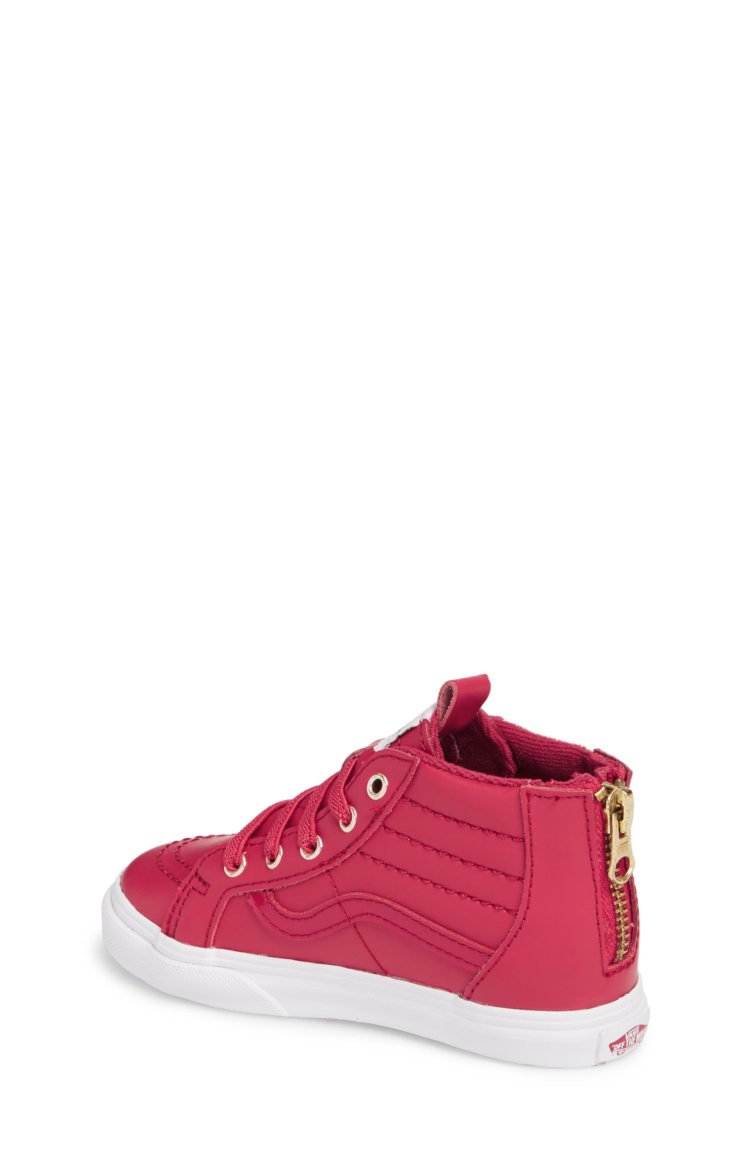 SK8-Hi Zip Sneaker,                             Alternate thumbnail 2, color,                             Persian Red/ Gold