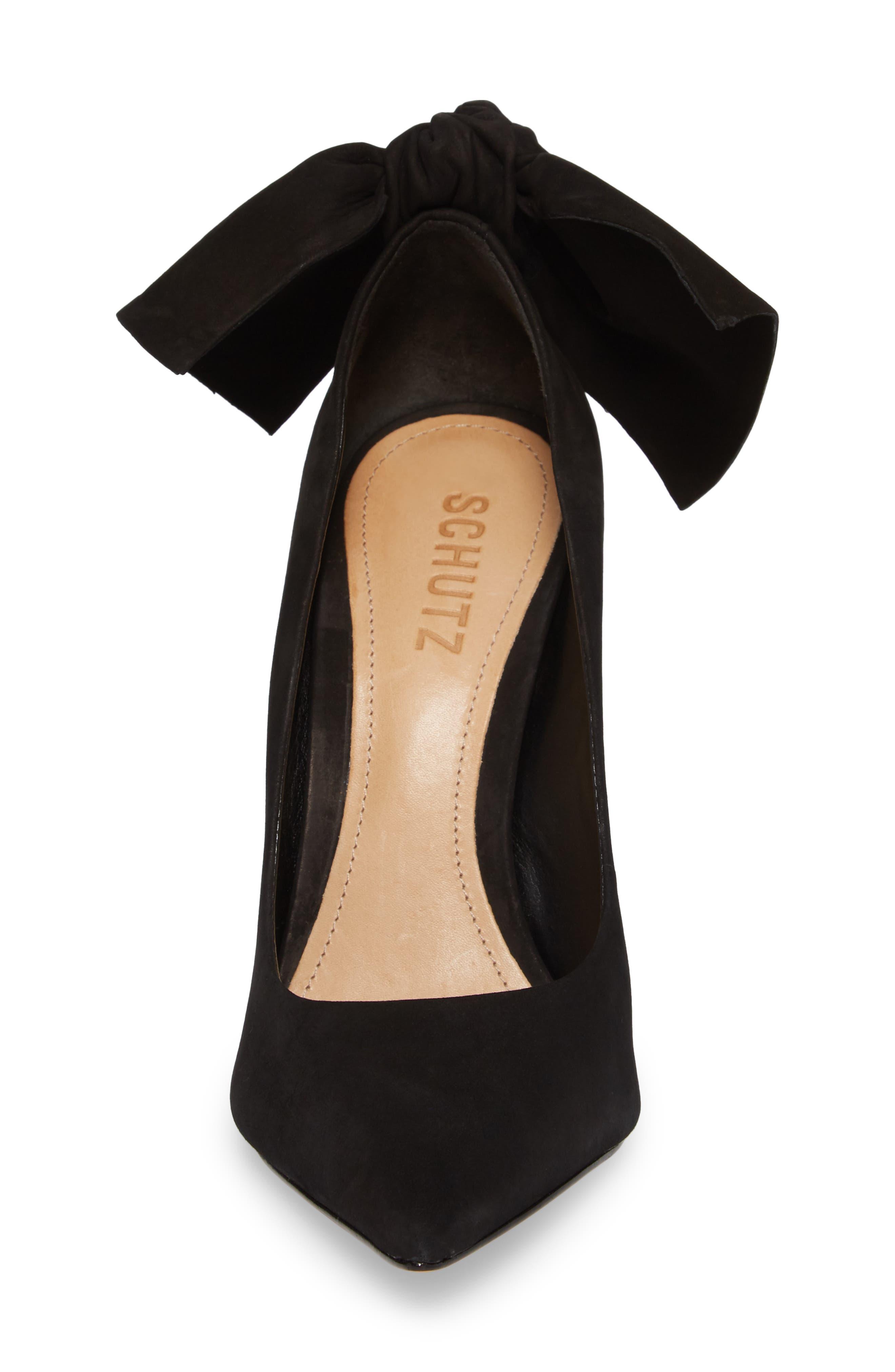 Blasiana Bow Pump,                             Alternate thumbnail 4, color,                             Black Nubuck Leather