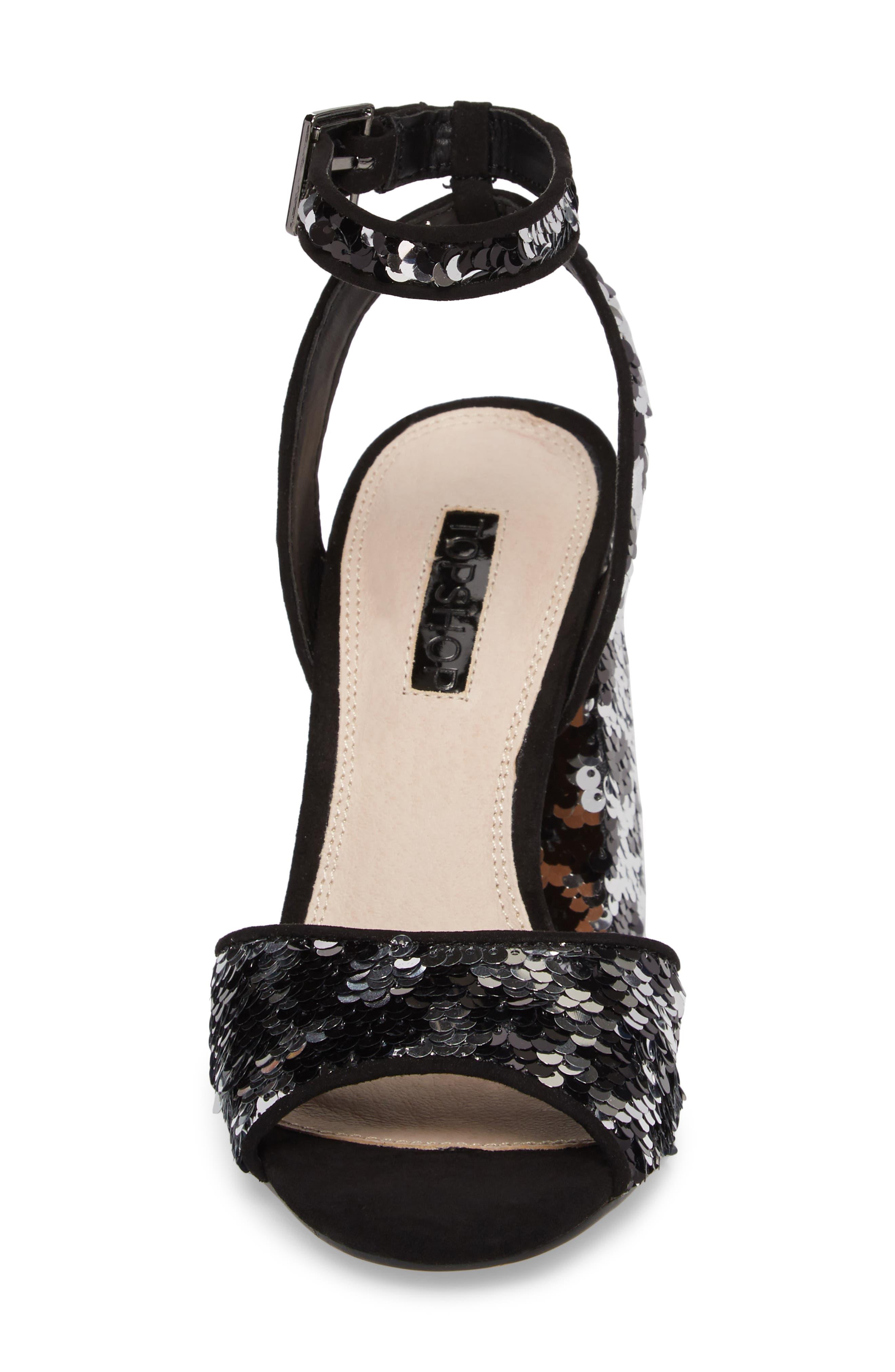 Reaction Sequin Block Heel Sandal,                             Alternate thumbnail 5, color,                             Black Multi