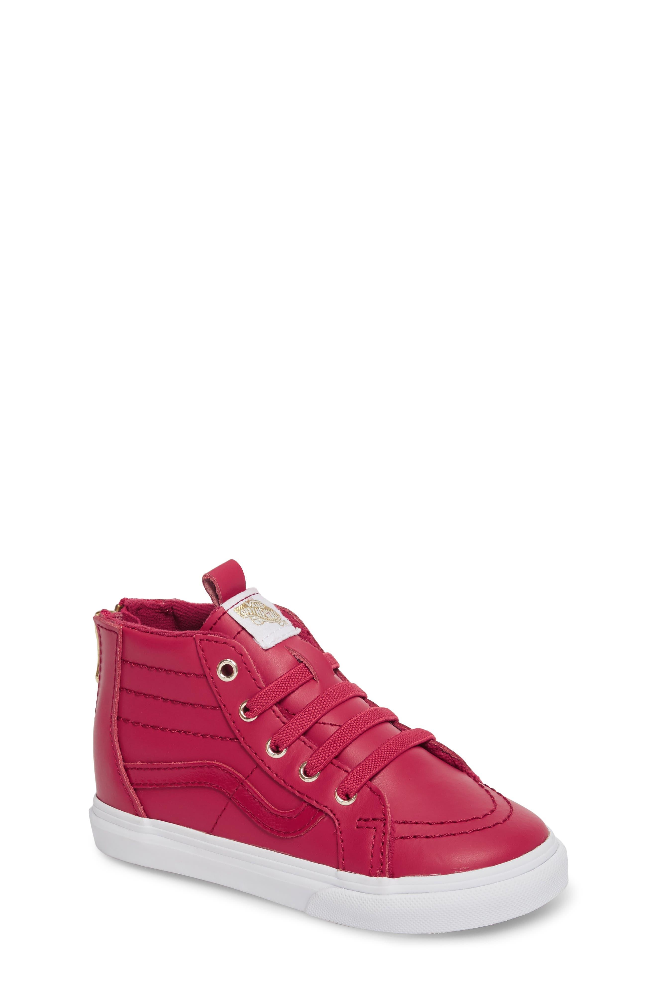 SK8-Hi Zip Sneaker,                         Main,                         color, Persian Red/ Gold