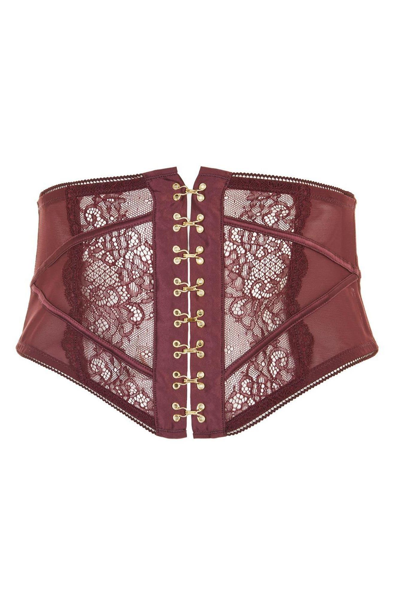 Waspie Lace Garter Belt,                             Alternate thumbnail 3, color,                             Berry
