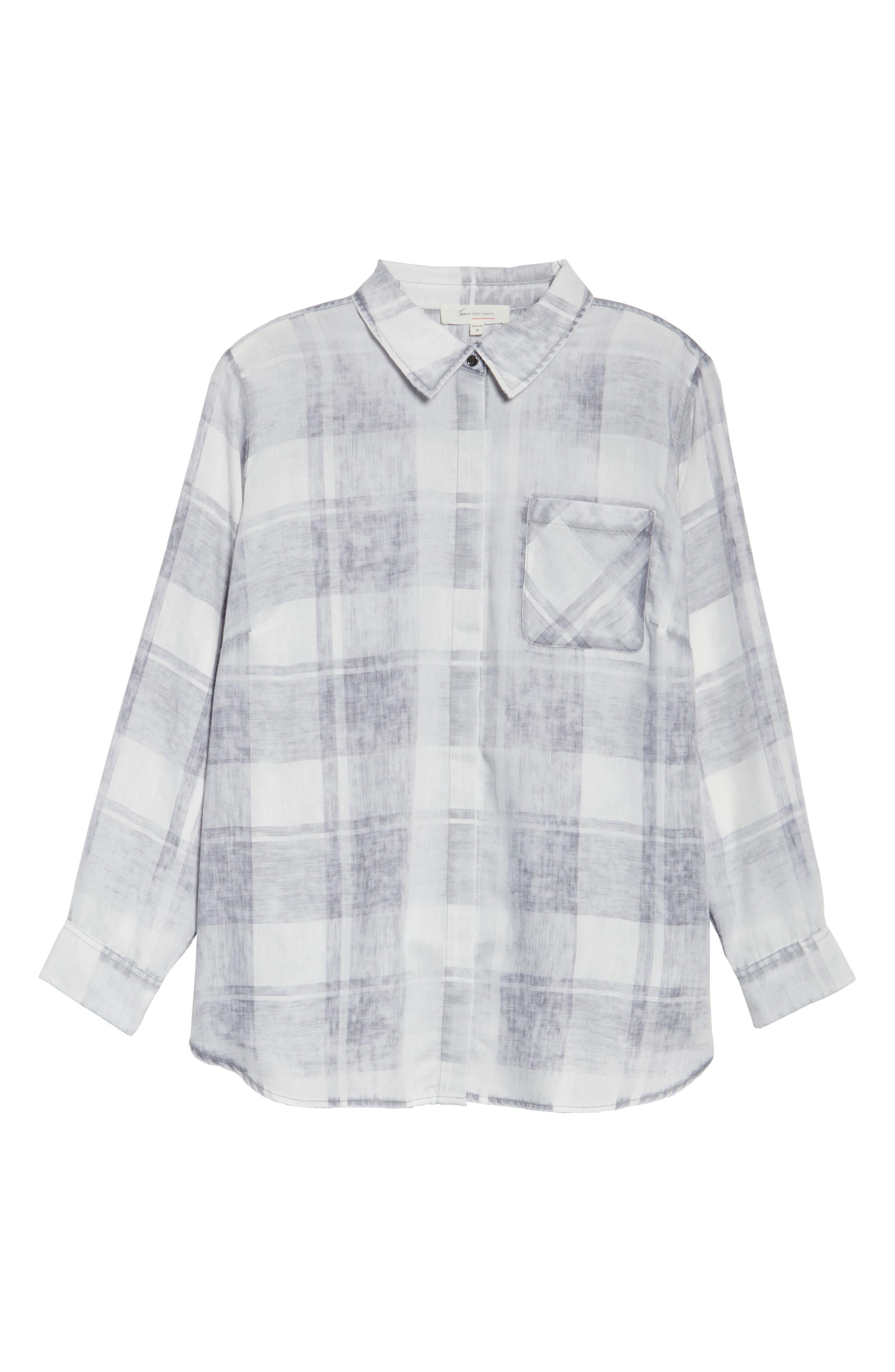 Alternate Image 6  - Two by Vince Camuto Quaint Plaid Button Down Shirt (Plus Size)