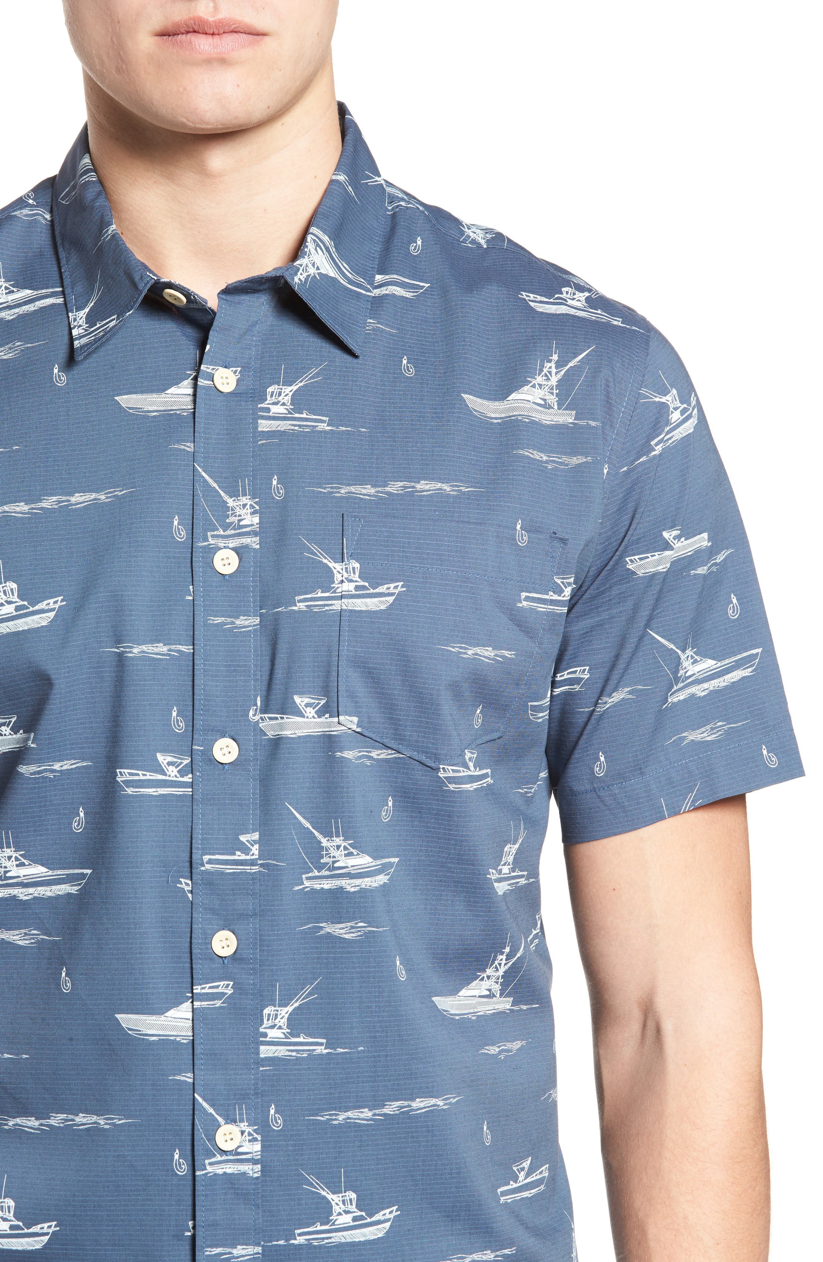 Fishboats Sport Shirt,                             Alternate thumbnail 4, color,                             Ensign Blue