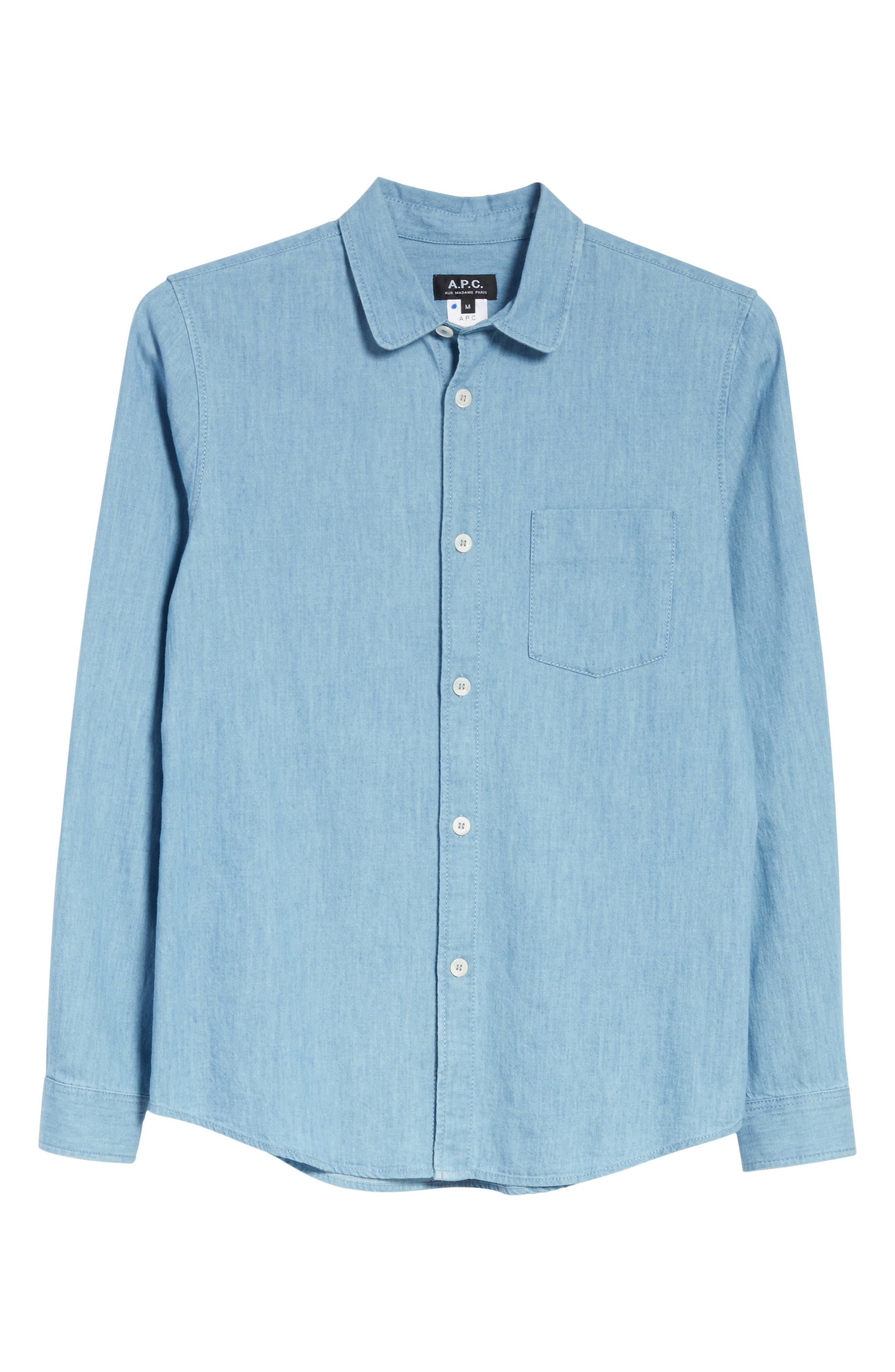 Chambray Shirt,                             Alternate thumbnail 6, color,                             Bleu Iaa