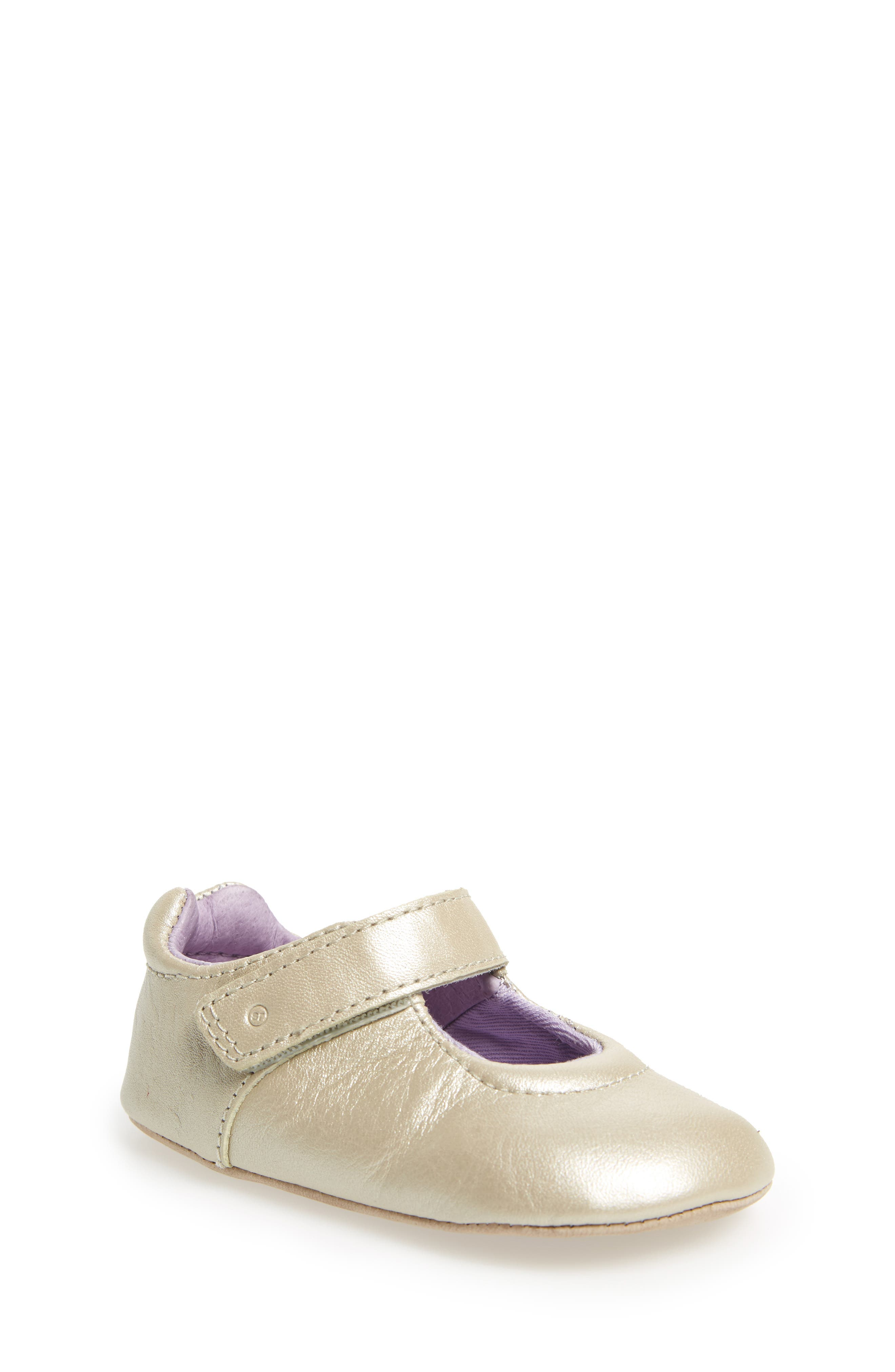 Liza Mary Jane Crib Shoe,                         Main,                         color, Champagne Leather