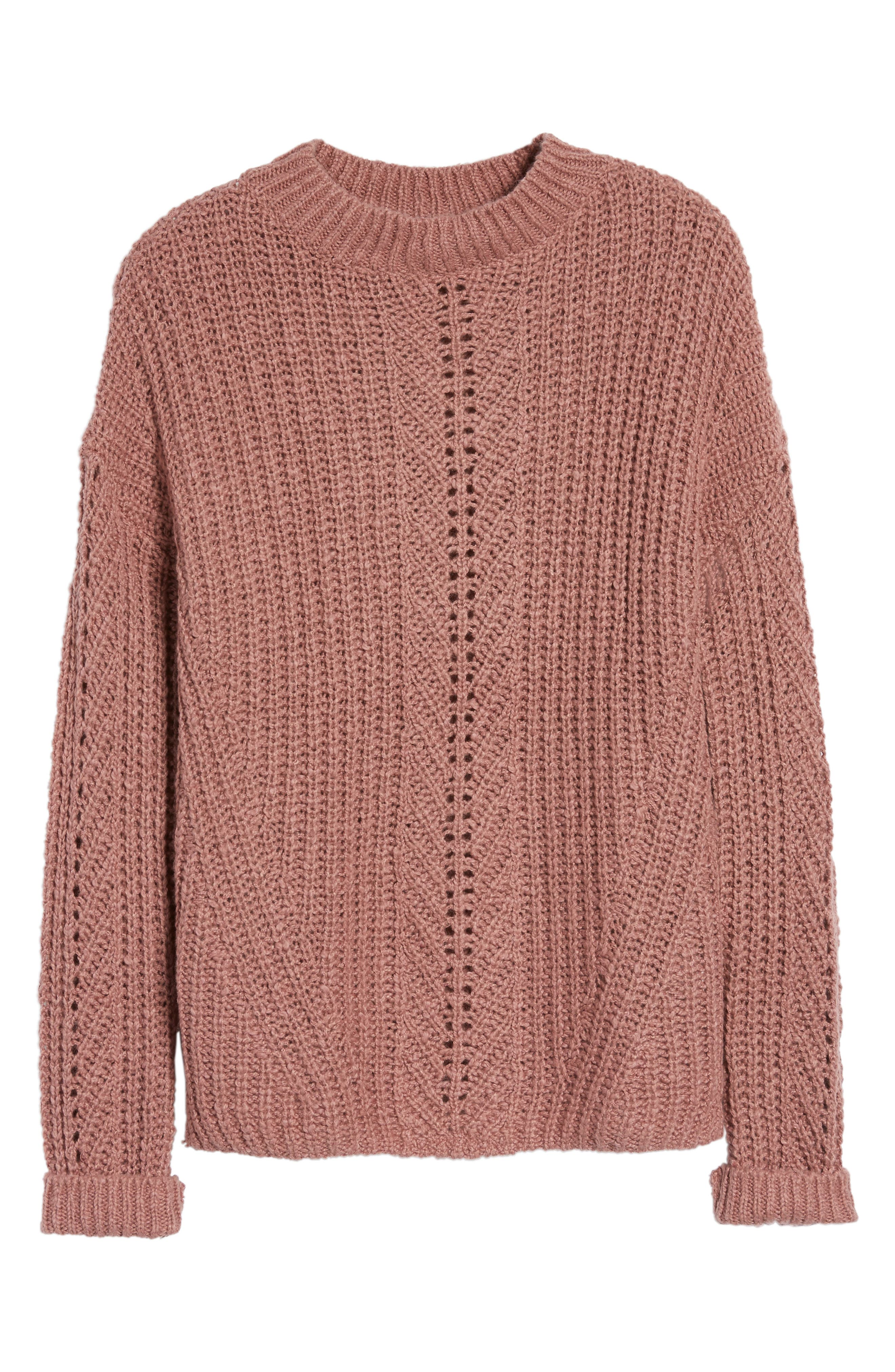 Open Stitch Sweater,                             Main thumbnail 1, color,                             Dusty Pink