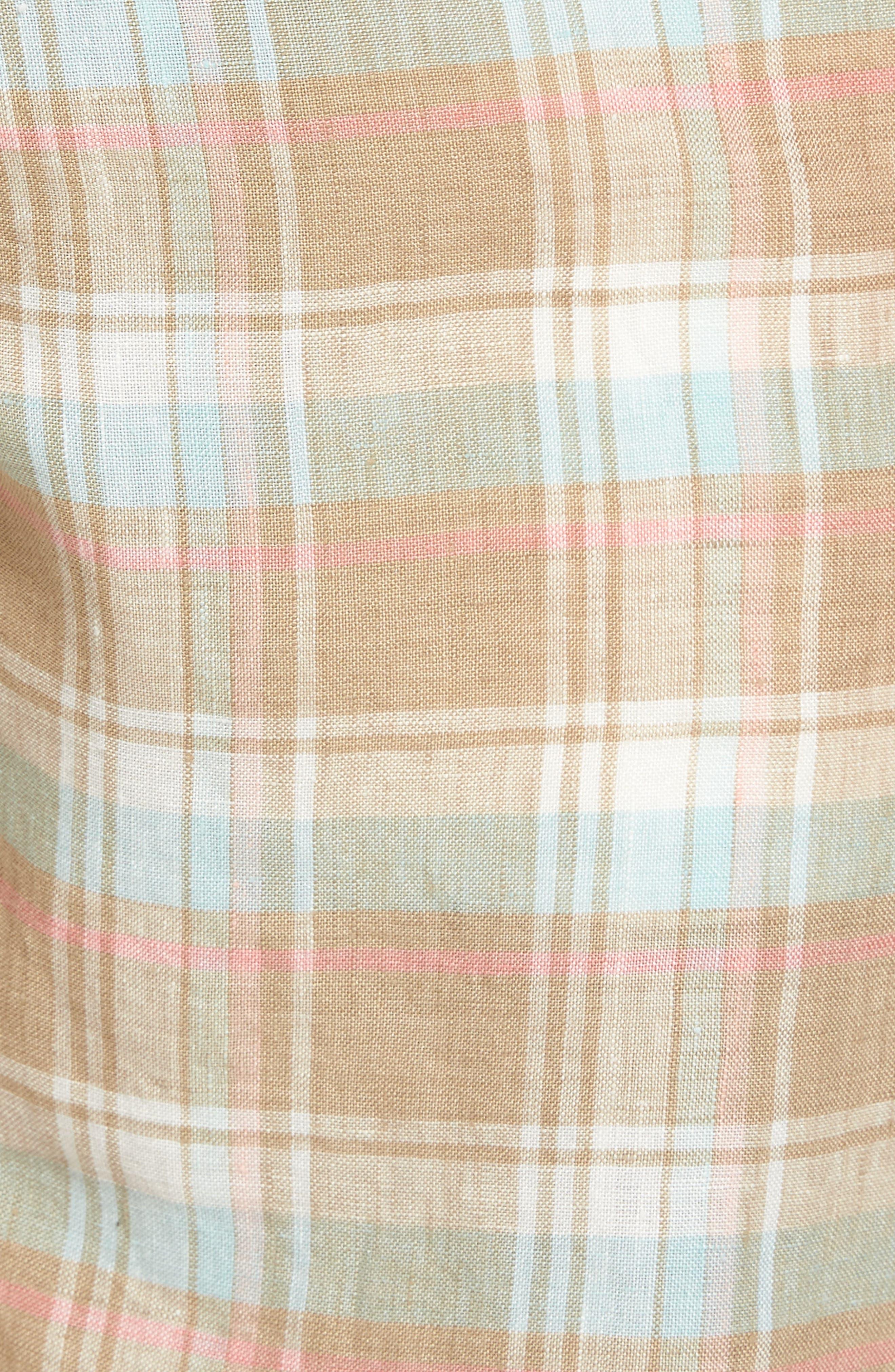 Plaid De Leon Reversible Shorts,                             Alternate thumbnail 6, color,                             Stone Khaki