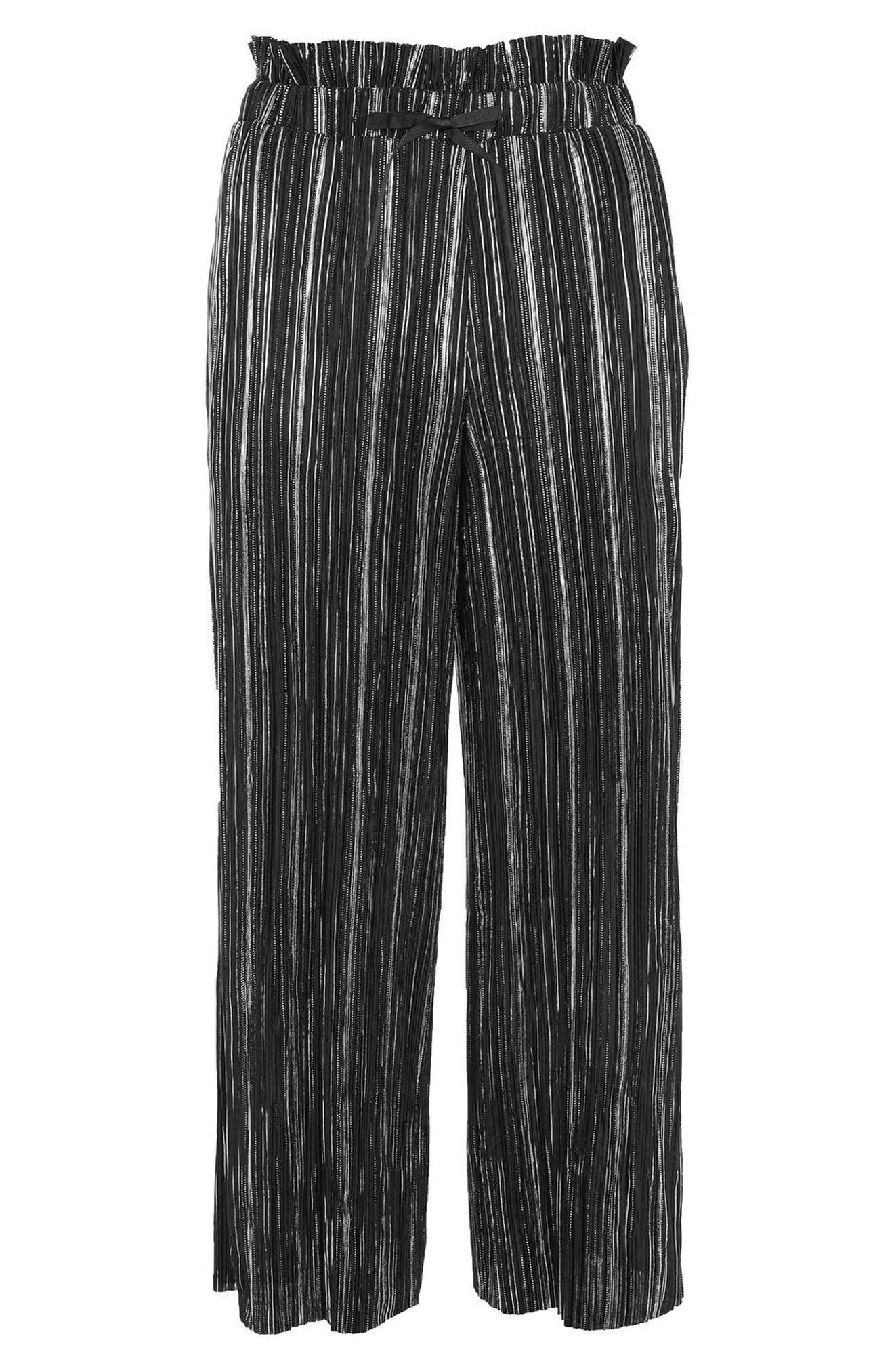 Metallic Plissé Pants,                             Alternate thumbnail 4, color,                             Black Multi