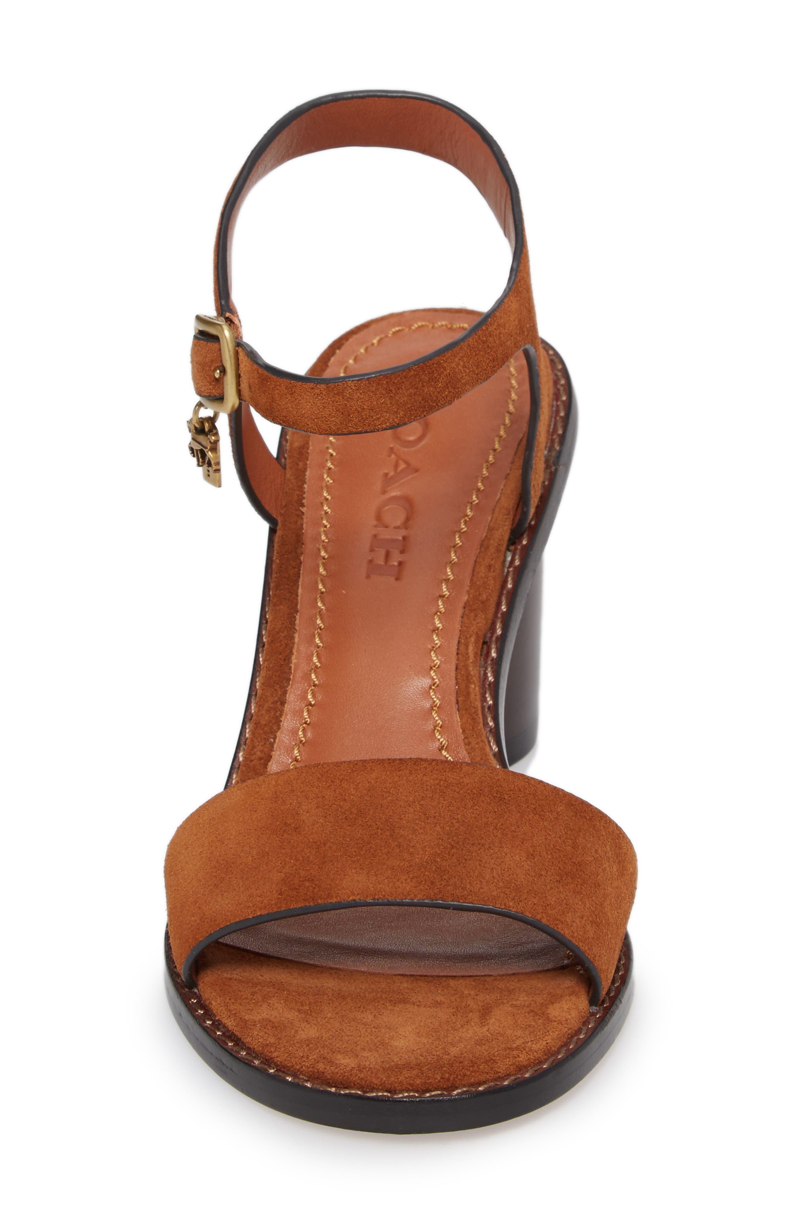 Column Heel Sandal,                             Alternate thumbnail 4, color,                             Saddle Suede