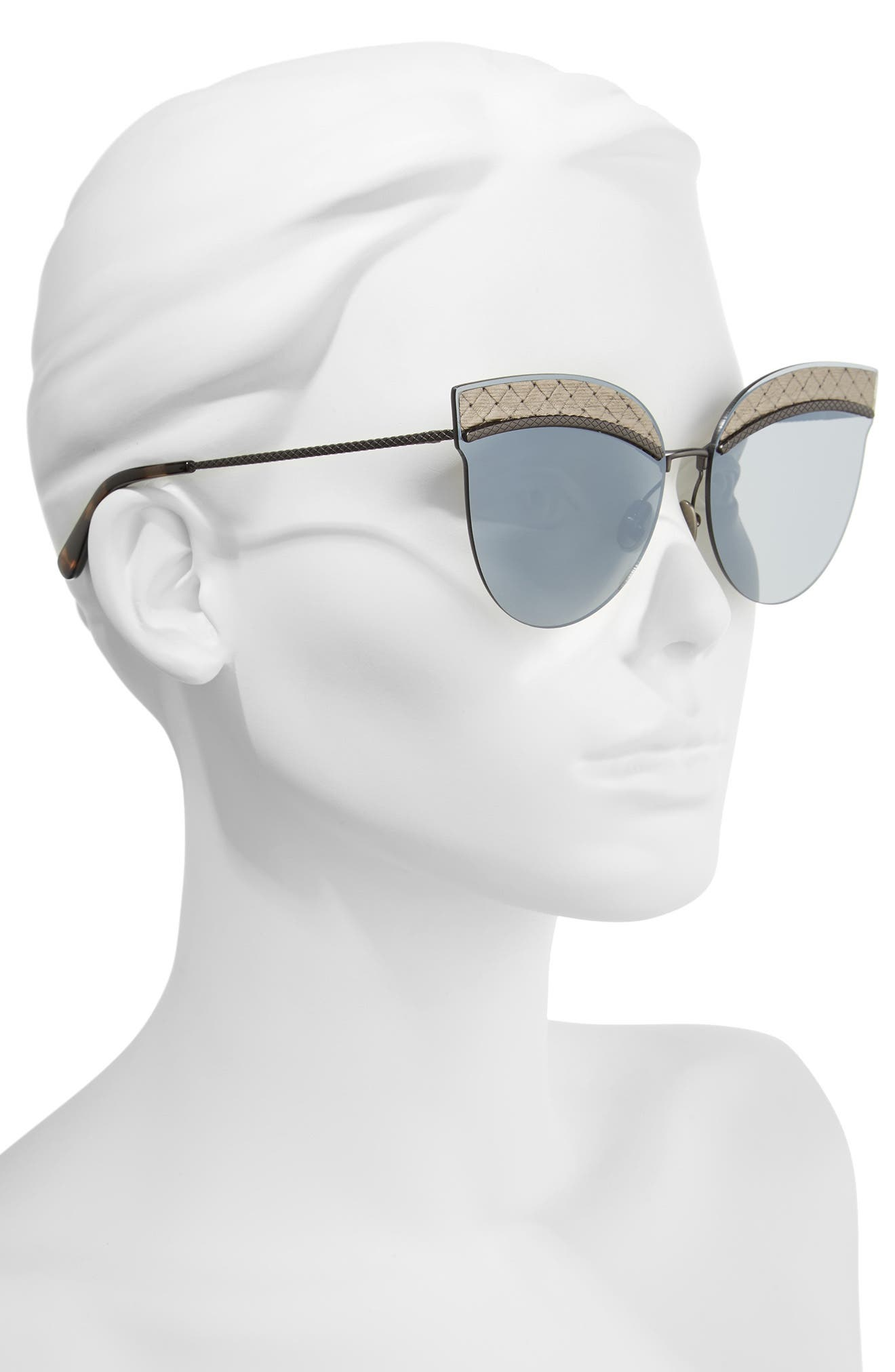 Alternate Image 2  - Bottega Veneta 64mm Semi-Rimless Cat Eye Sunglasses