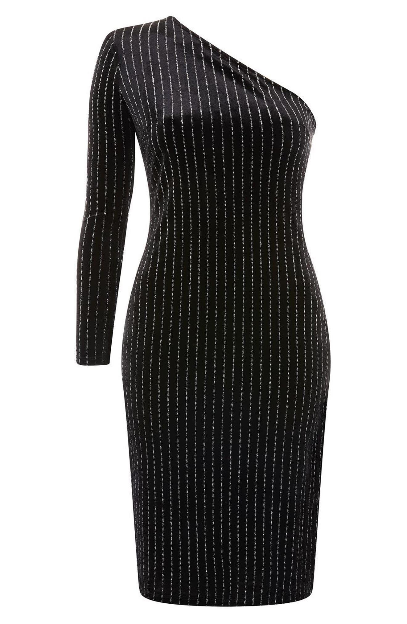 Glitter Stripe One-Shoulder Dress,                             Alternate thumbnail 4, color,                             Black