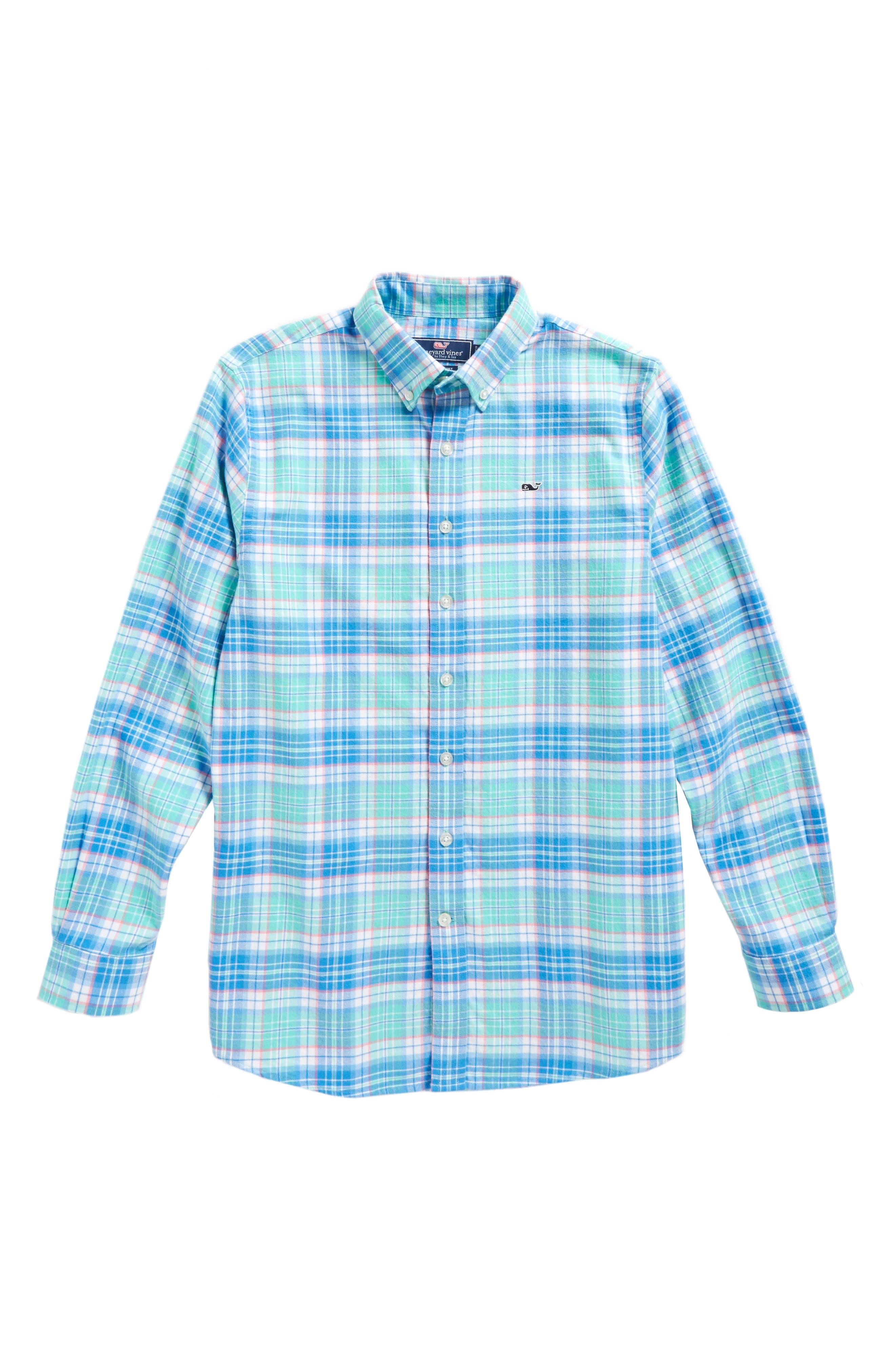 Sandspar Plaid Whale Flannel Shirt,                             Main thumbnail 1, color,                             Bahama Breeze