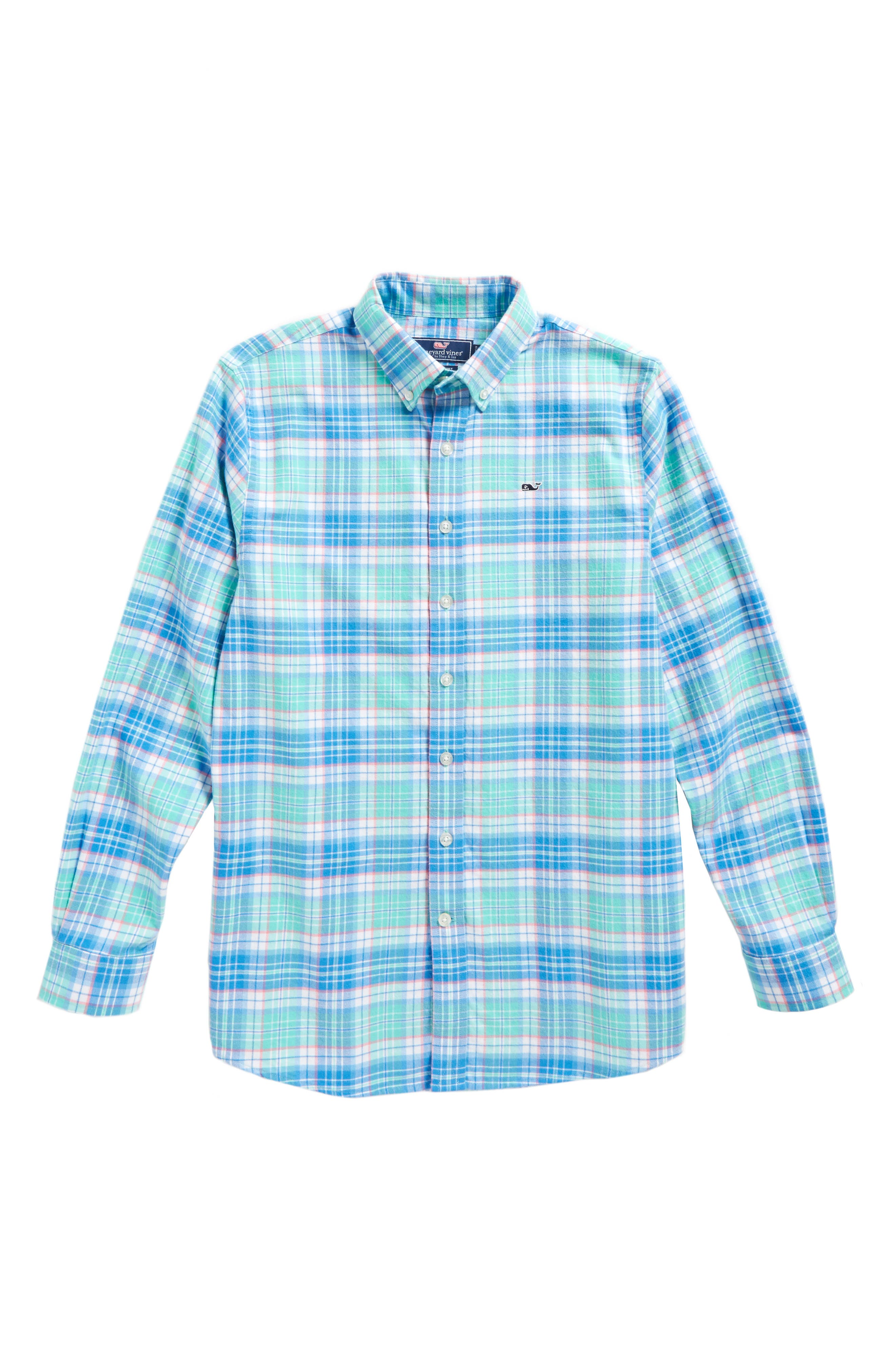 Main Image - vineyard vines Sandspar Plaid Whale Flannel Shirt (Big Boys)