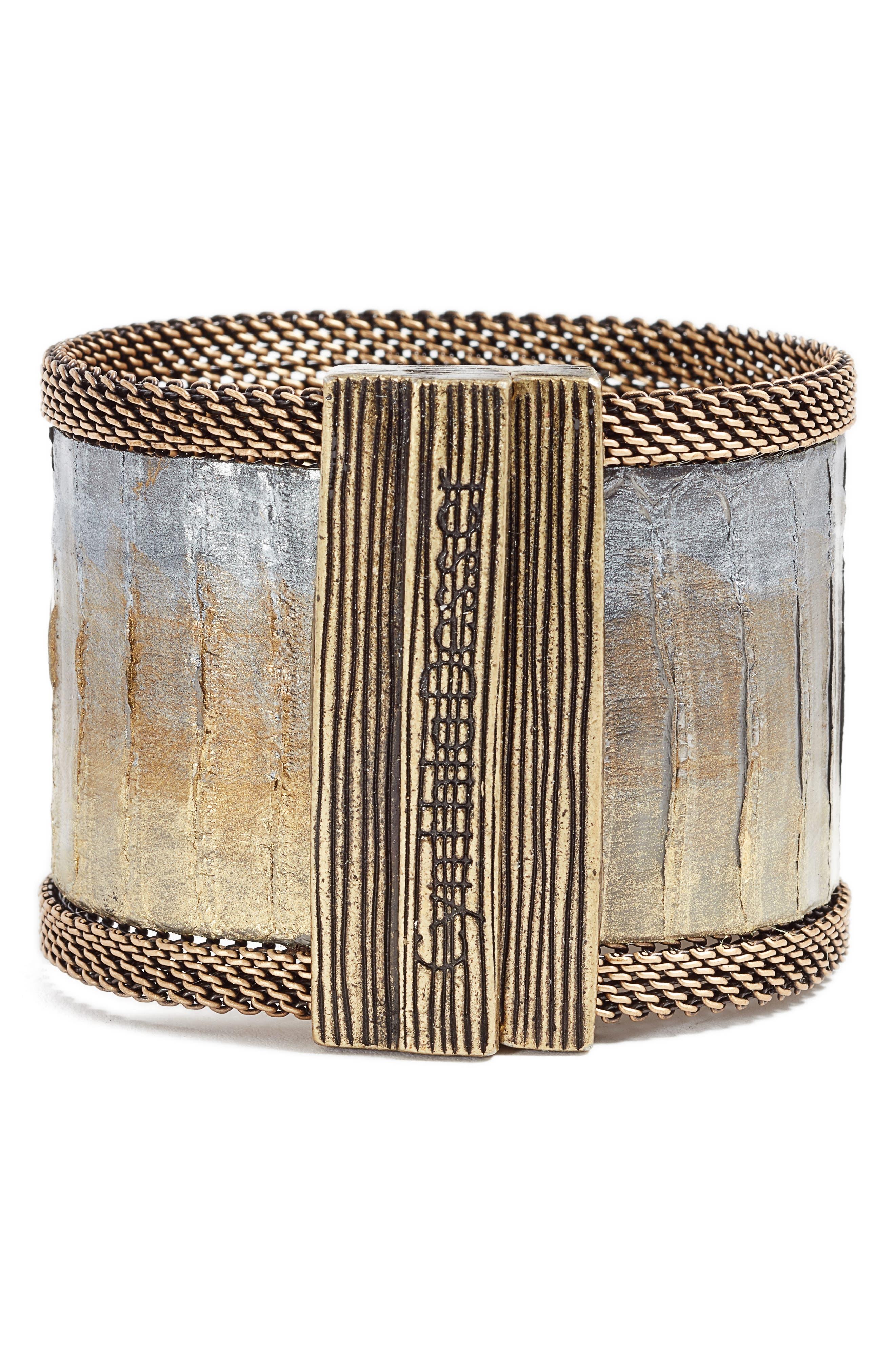 Snakeskin Bracelet,                             Alternate thumbnail 3, color,                             Gold/ Grey/ Bronze