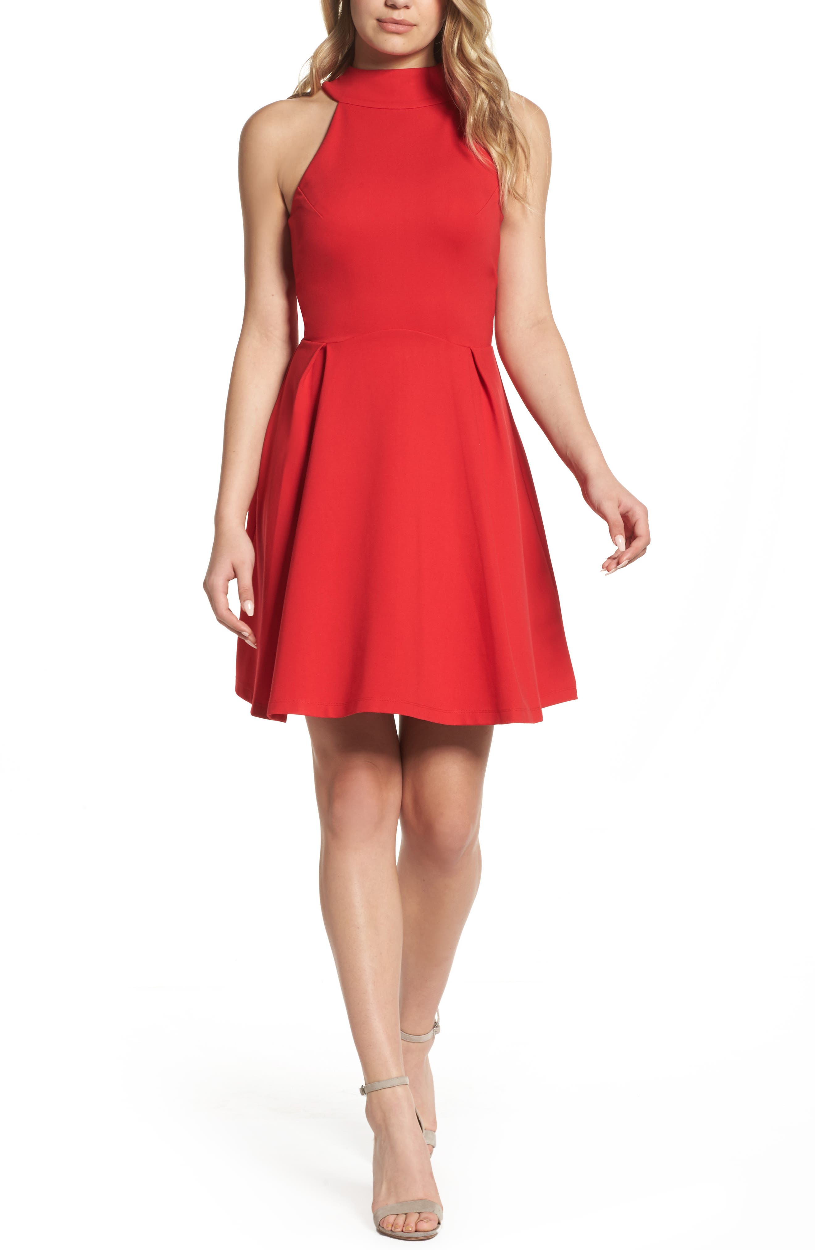 Rosa Fit & Flare Dress,                         Main,                         color, Tango Red