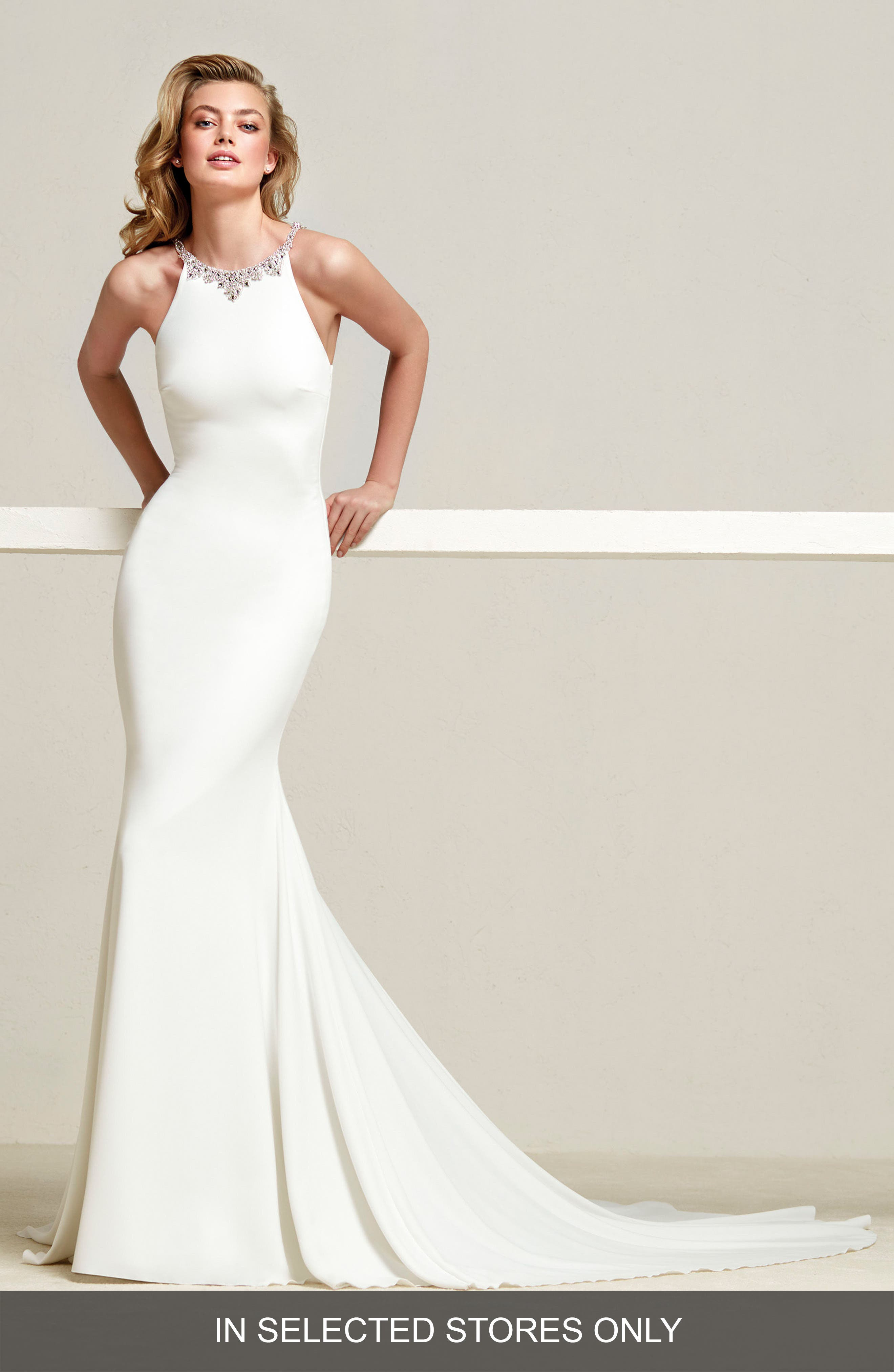 Dreba Jeweled Back Crepe Mermaid Gown,                         Main,                         color, Off White/Crystal