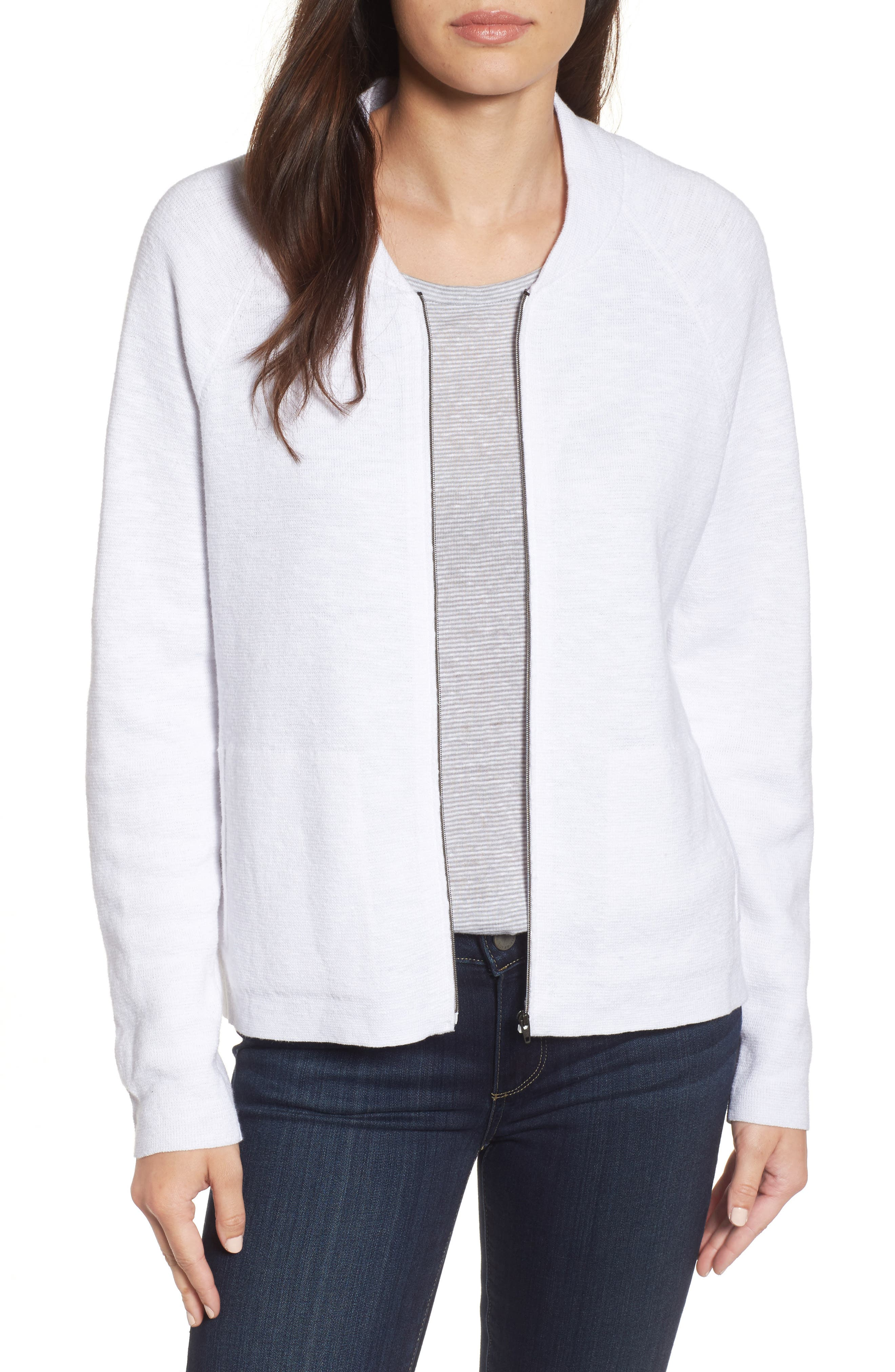 Organic Linen & Cotton Bomber Cardigan,                             Main thumbnail 1, color,                             White