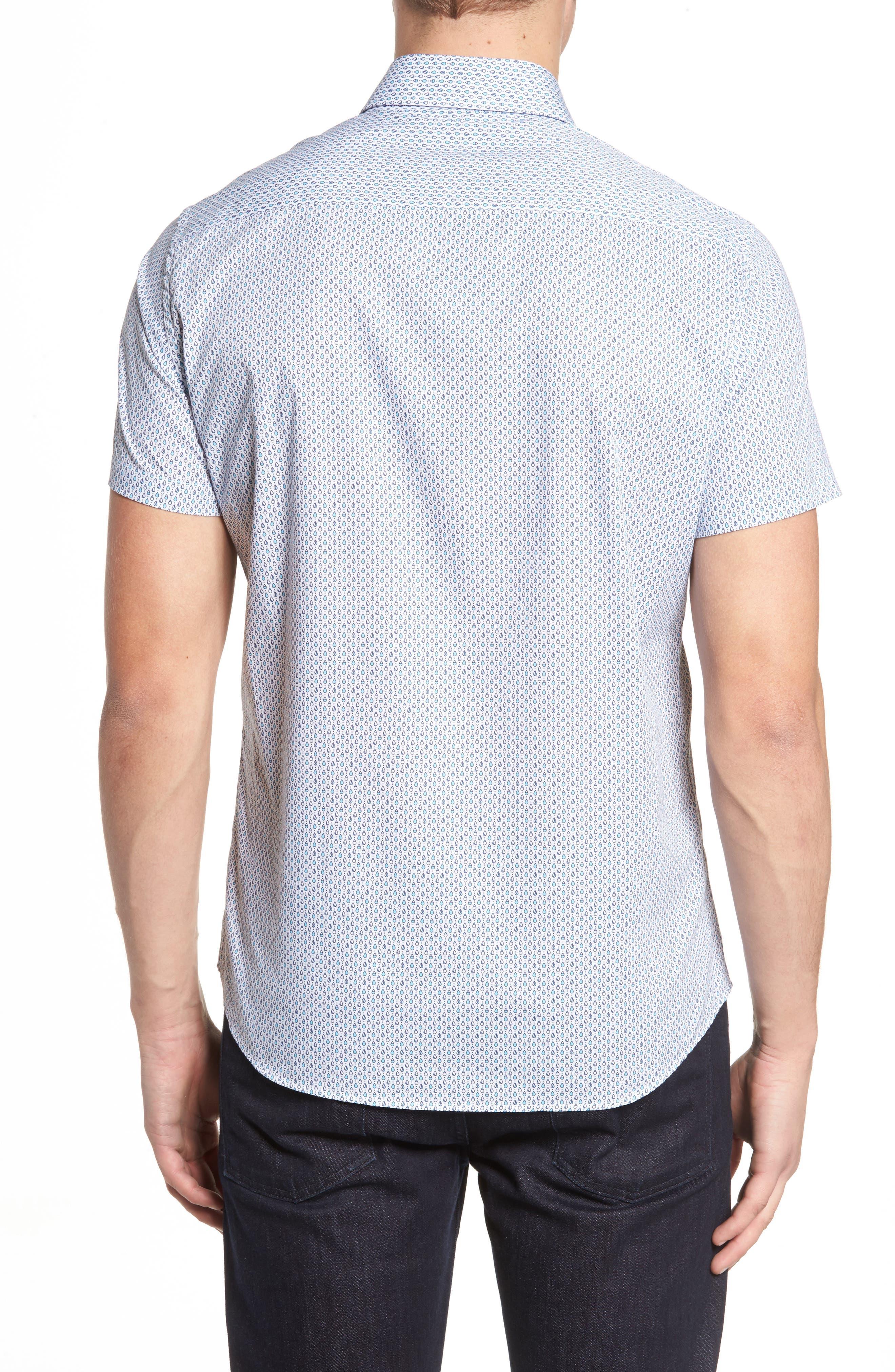 Trim Fit Teardrop Sport Shirt,                             Alternate thumbnail 2, color,                             White