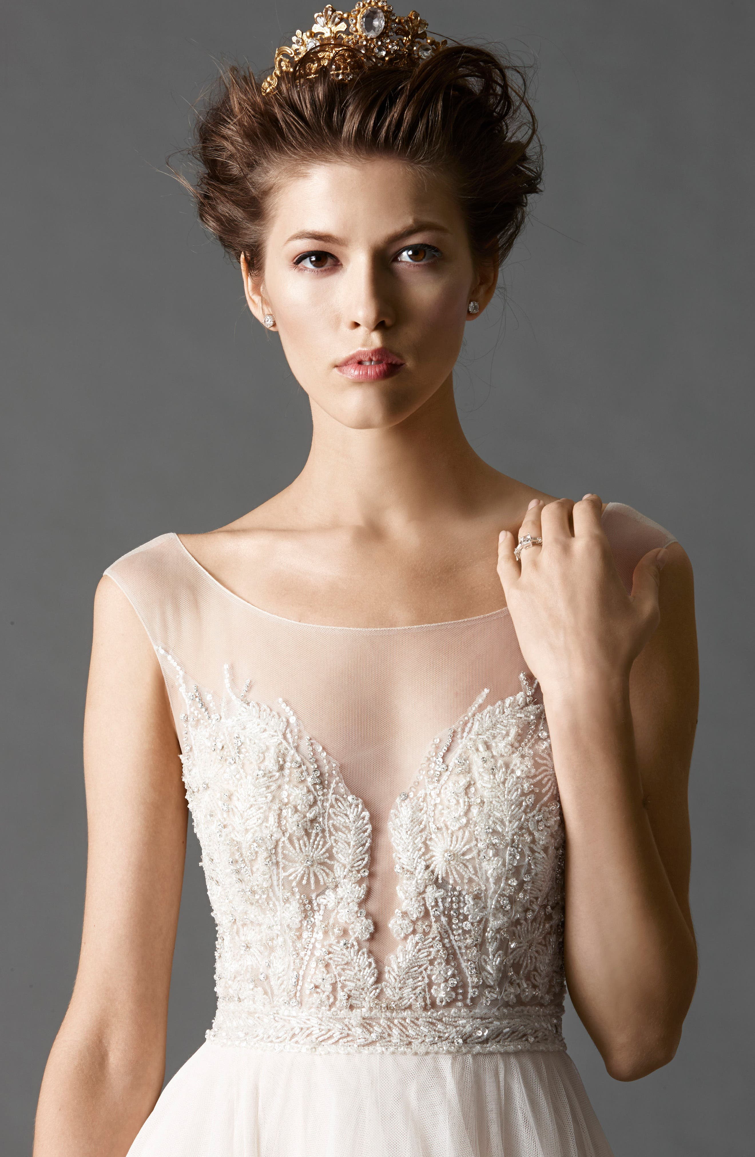 Kaliah Embroidered A-Line Gown,                             Alternate thumbnail 2, color,                             Light Nude/ Whisper Pink