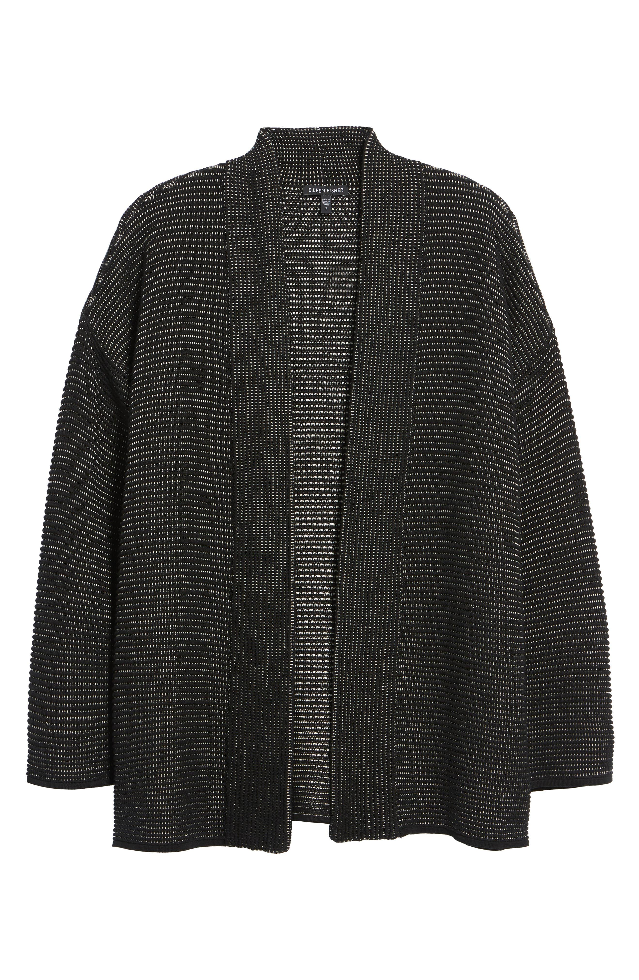 Silk Blend Ottoman Knit Cardigan,                             Alternate thumbnail 6, color,                             Black Natural