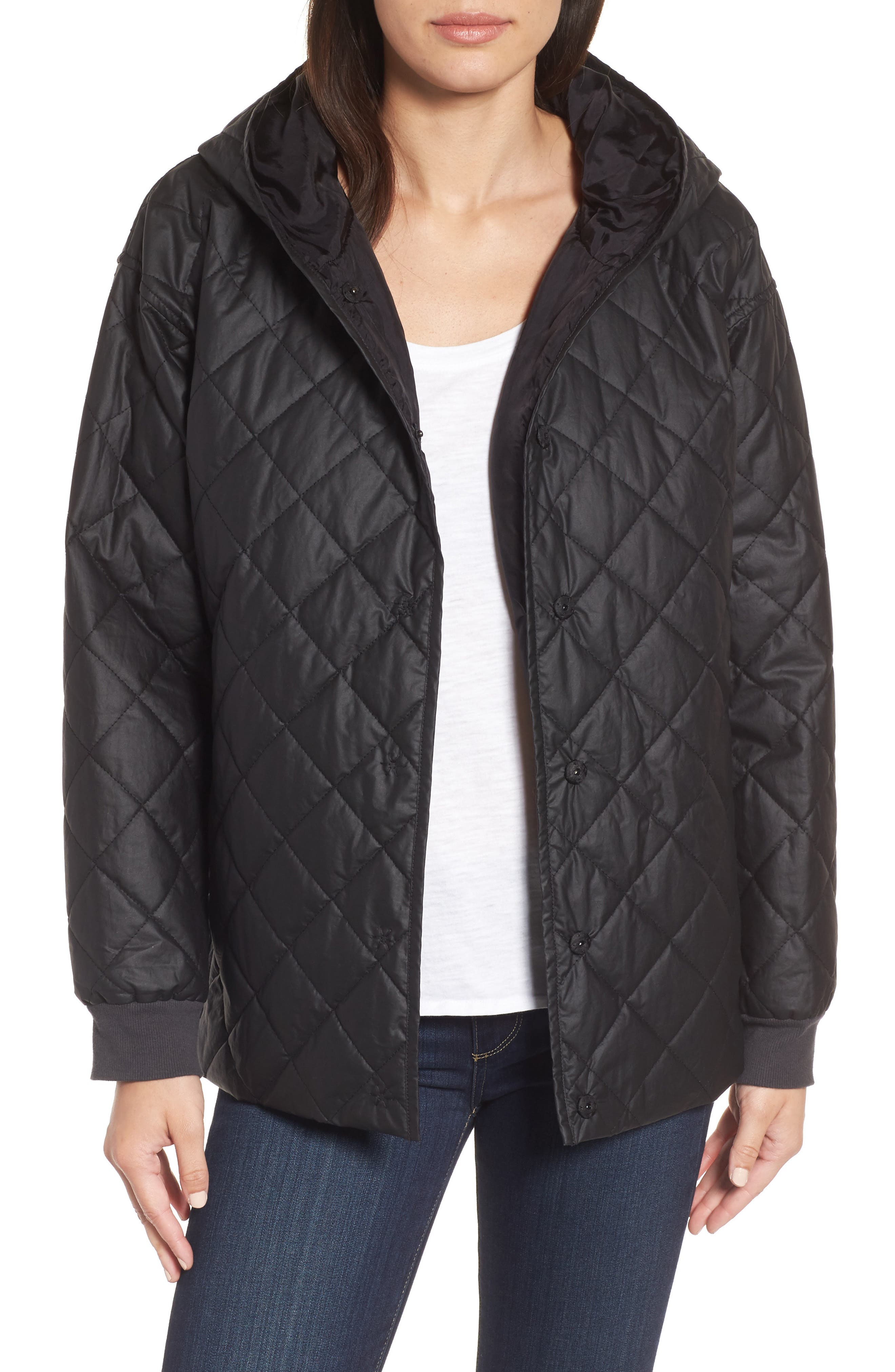 Quilted Hooded Jacket,                         Main,                         color, Black