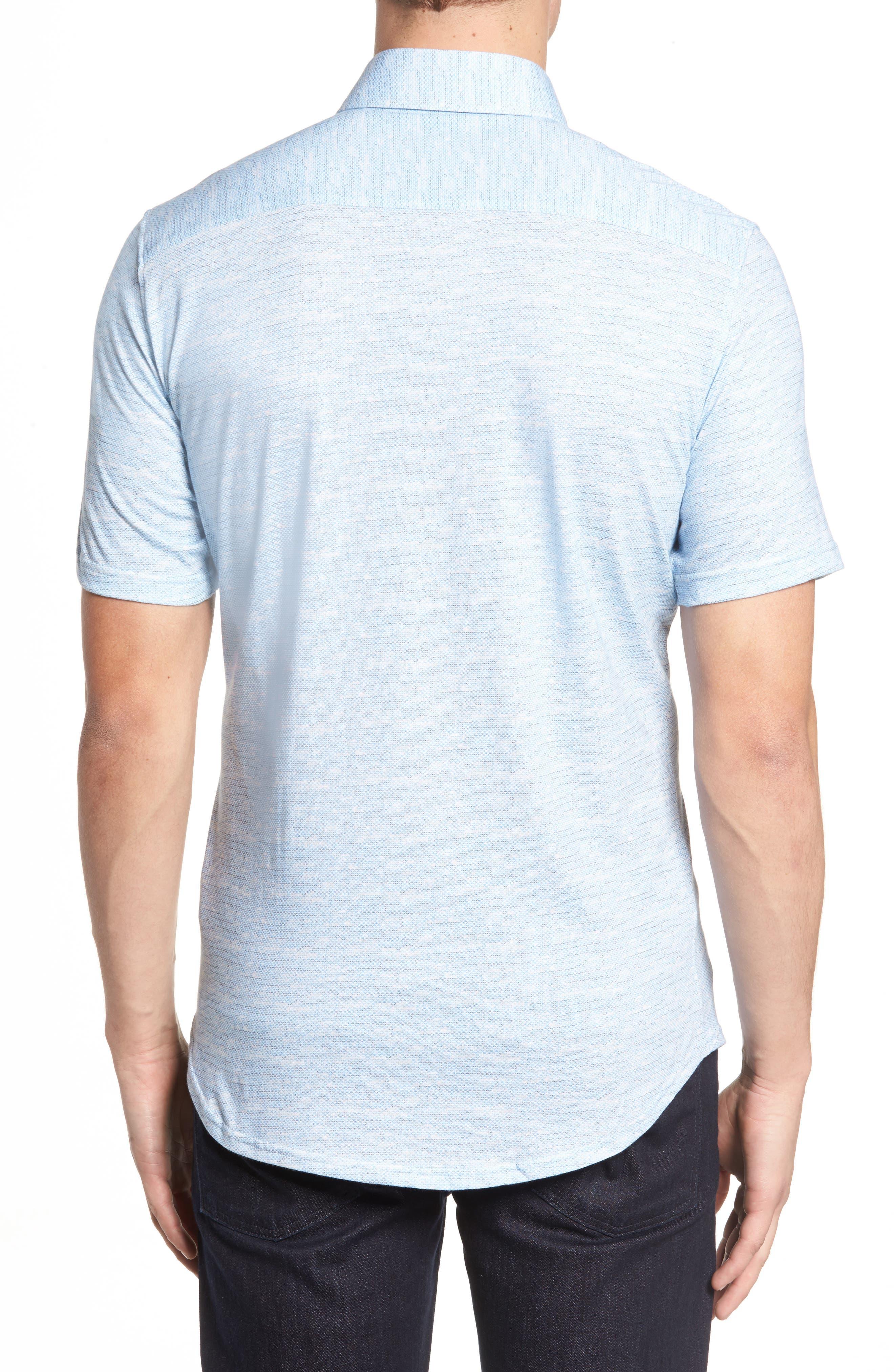 Trim Fit Mélange Sport Shirt,                             Alternate thumbnail 2, color,                             Blue
