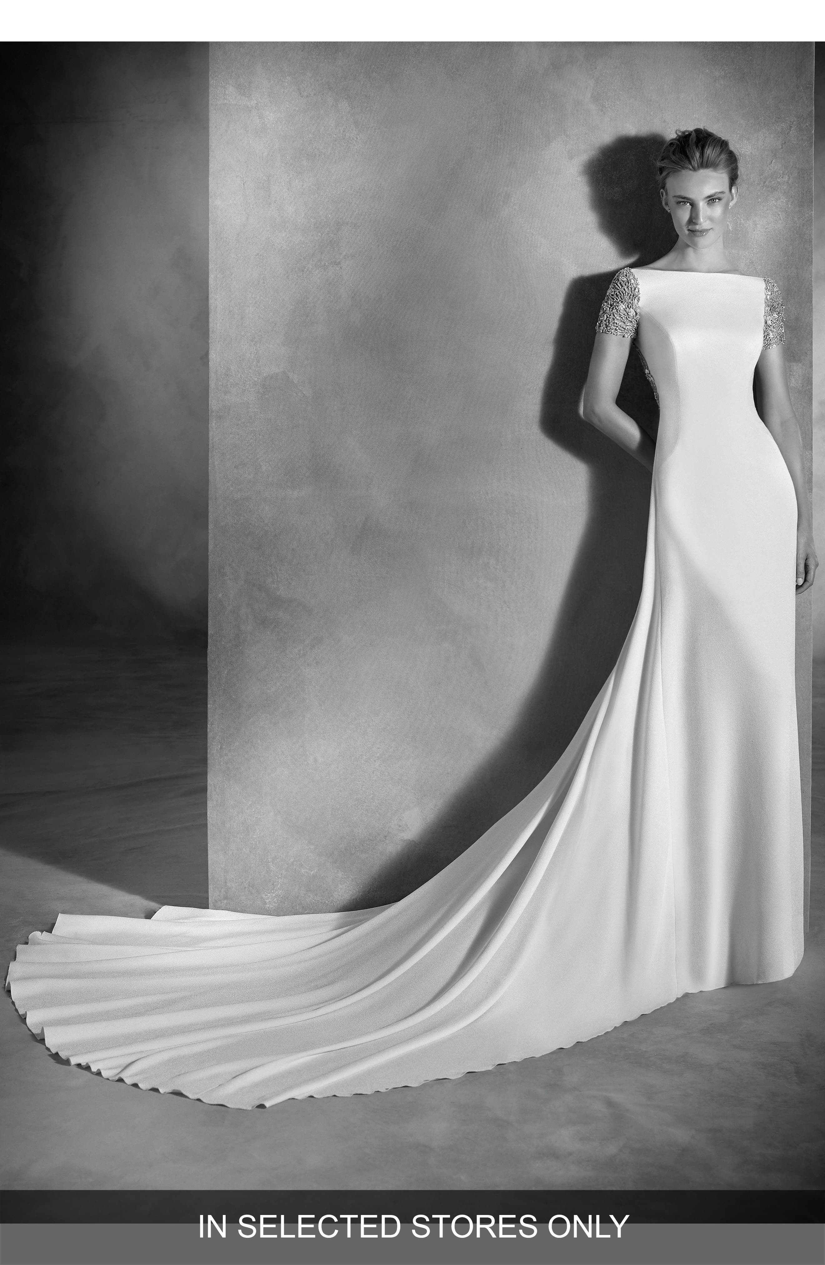 Alternate Image 1 Selected - Atelier Pronovias Emery Embellished A-Line Gown